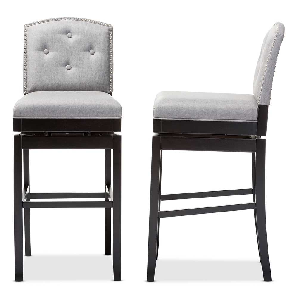 Baxton Studio Ginaro Modern and Contemporary Grey Fabric Button tufted Upholstered Swivel Bar Stool