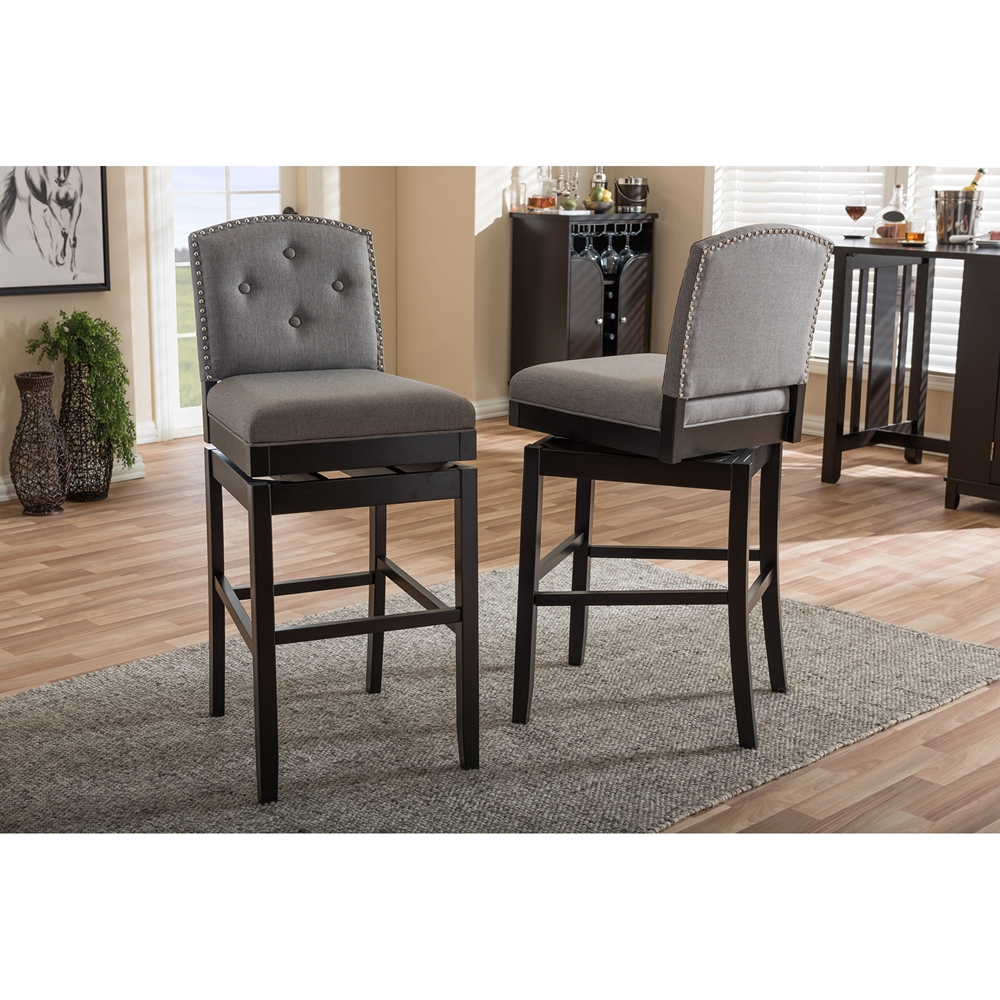 Set Of 2 Kitchen Counter Height Chairs With Microfiber: Baxton Studio Ginaro Modern And Contemporary Grey Fabric