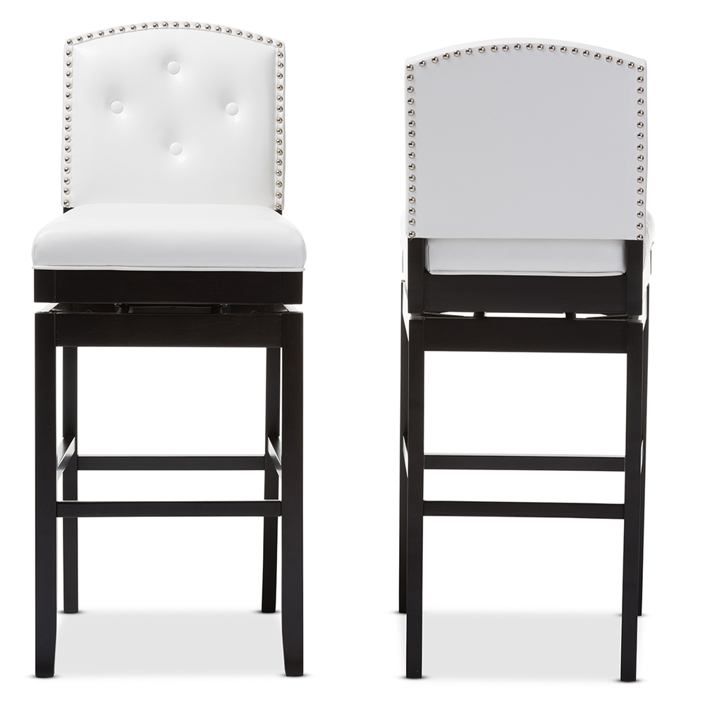 baxton studio ginaro modern and contemporary white faux leatherbuttontufted upholstered swivel bar stool. bar stools  bar furniture  affordable modern furniture  baxton