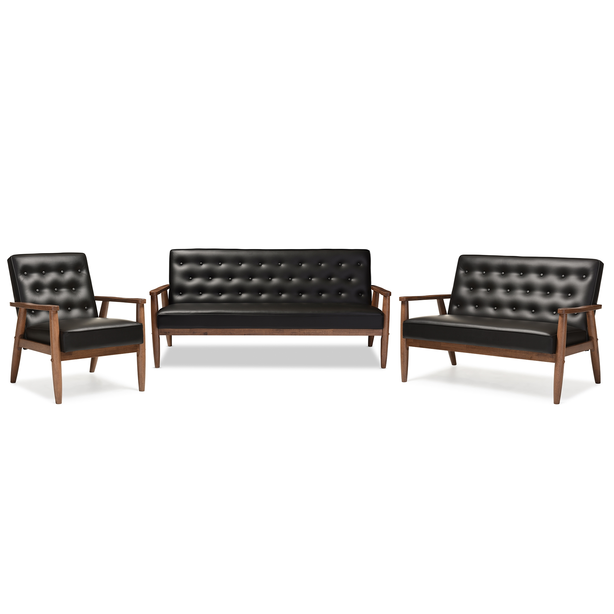 Baxton Studio Sorrento Mid Century Retro Modern Black Faux Leather  Upholstered Wooden 3 Piece Living Room Set