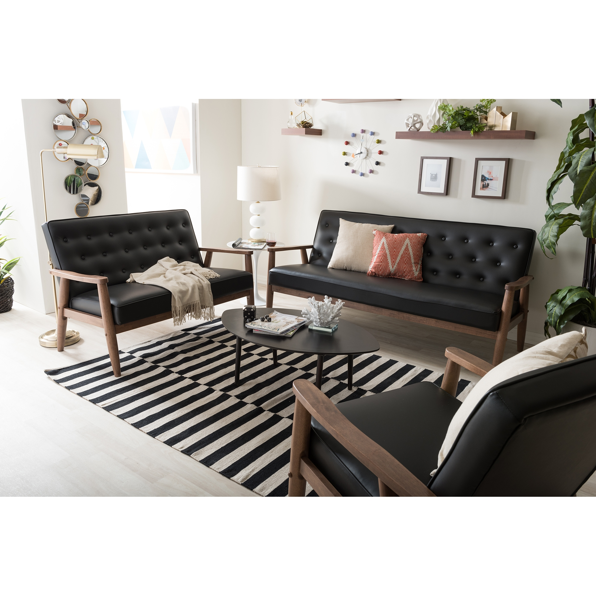 ... Baxton Studio Sorrento Mid Century Retro Modern Black Faux Leather  Upholstered Wooden 3 Piece Living