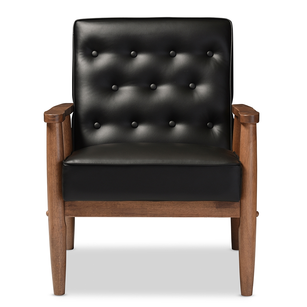 modern black chair - baxton studio sorrento mid century retro modern black faux leatherupholstered wooden lounge chair
