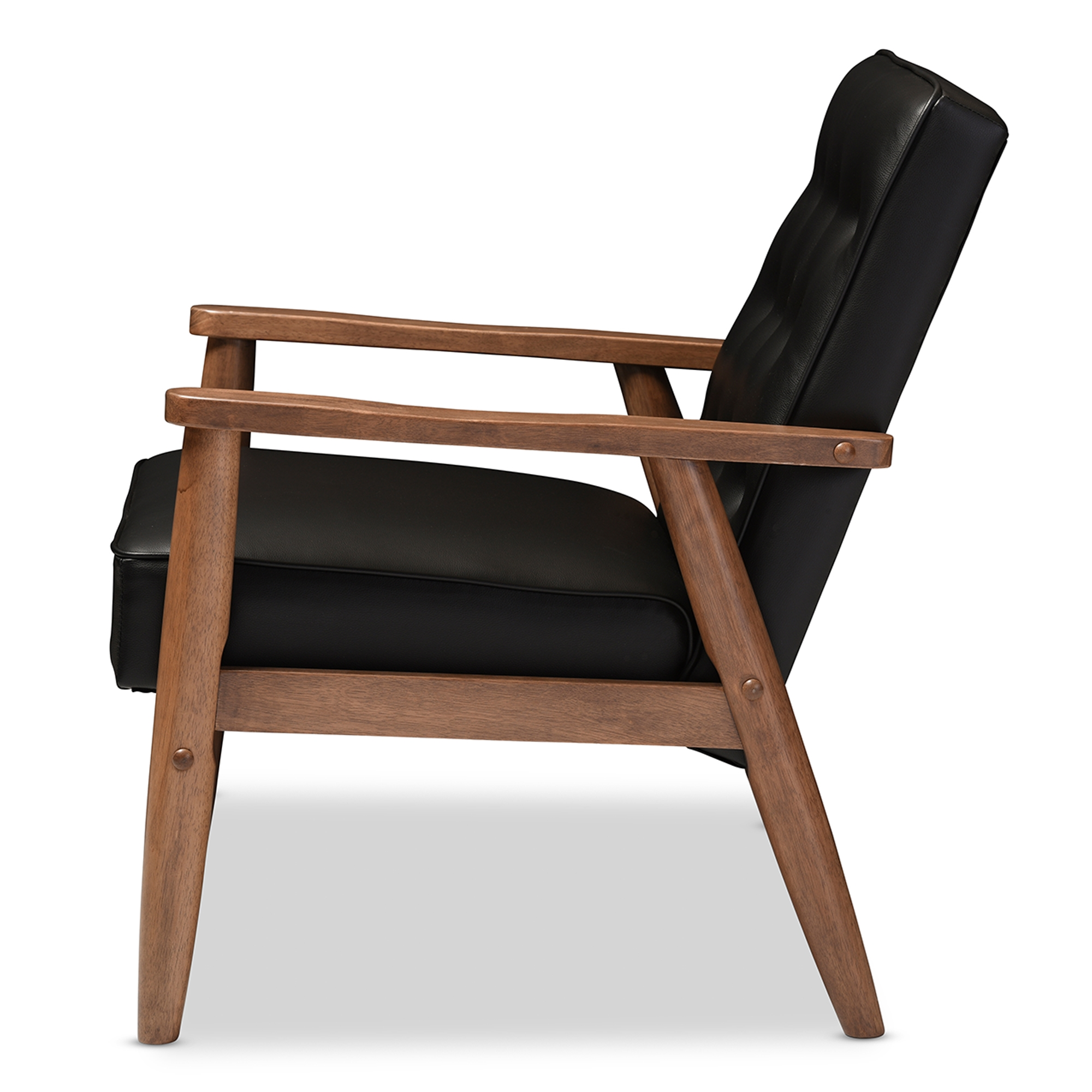 ... Baxton Studio Sorrento Mid Century Retro Modern Black Faux Leather  Upholstered Wooden Lounge Chair ...