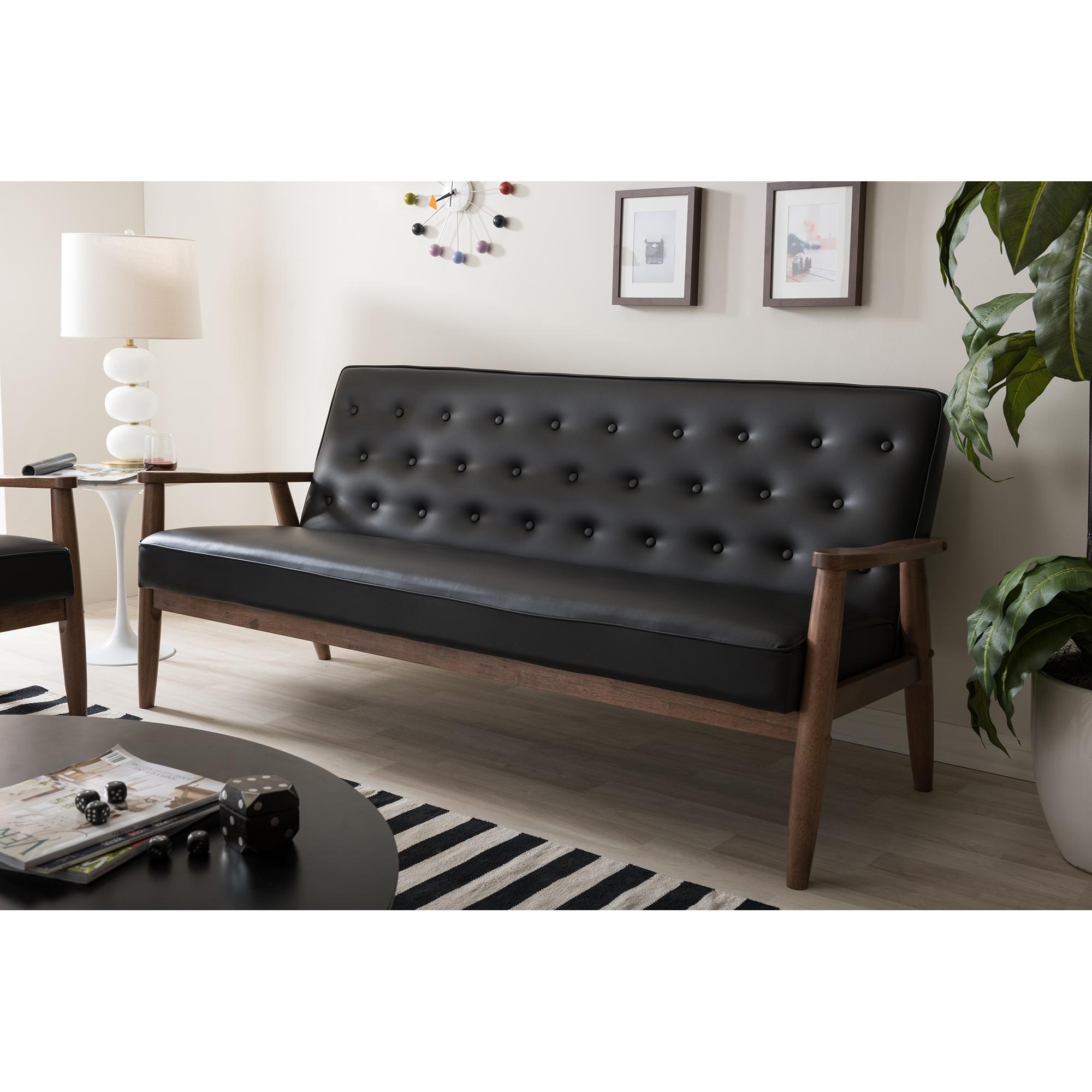 Baxton Studio Sorrento Midcentury Retro Modern Black Faux Leather