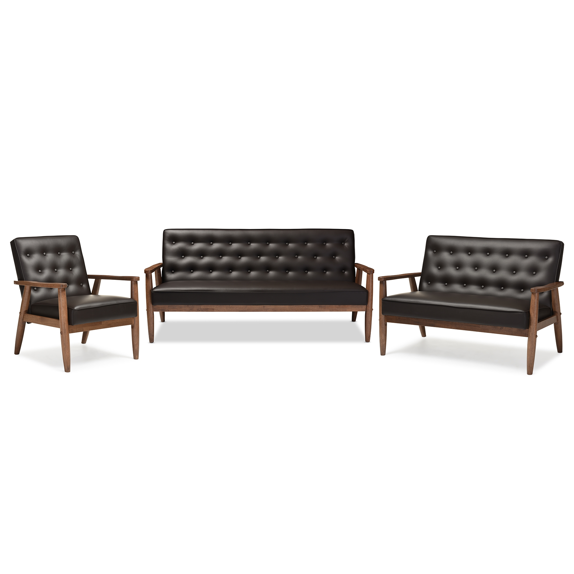 Baxton Studio Sorrento Mid-century Retro Modern Brown Faux Leather ...