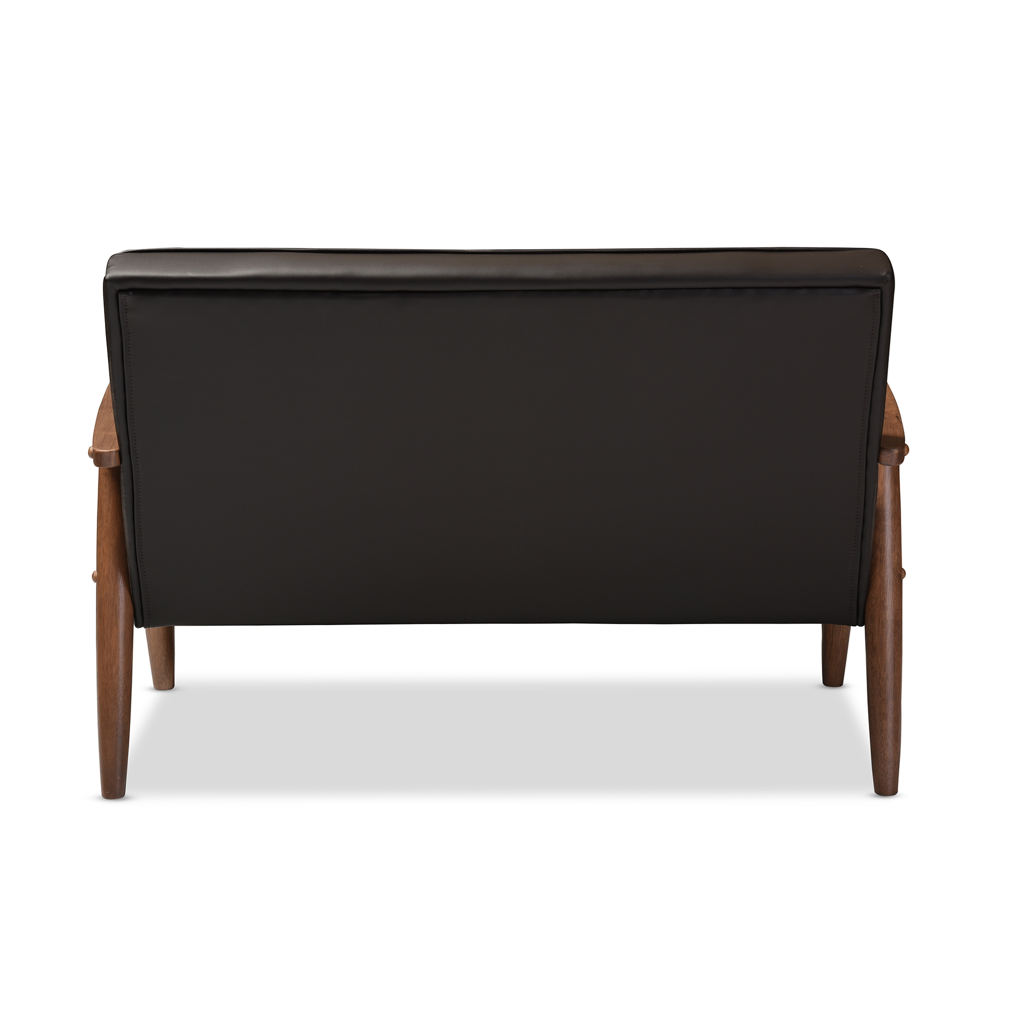 baxton studio sorrento midcentury retro modern brown faux leather upholstered wooden 2seater