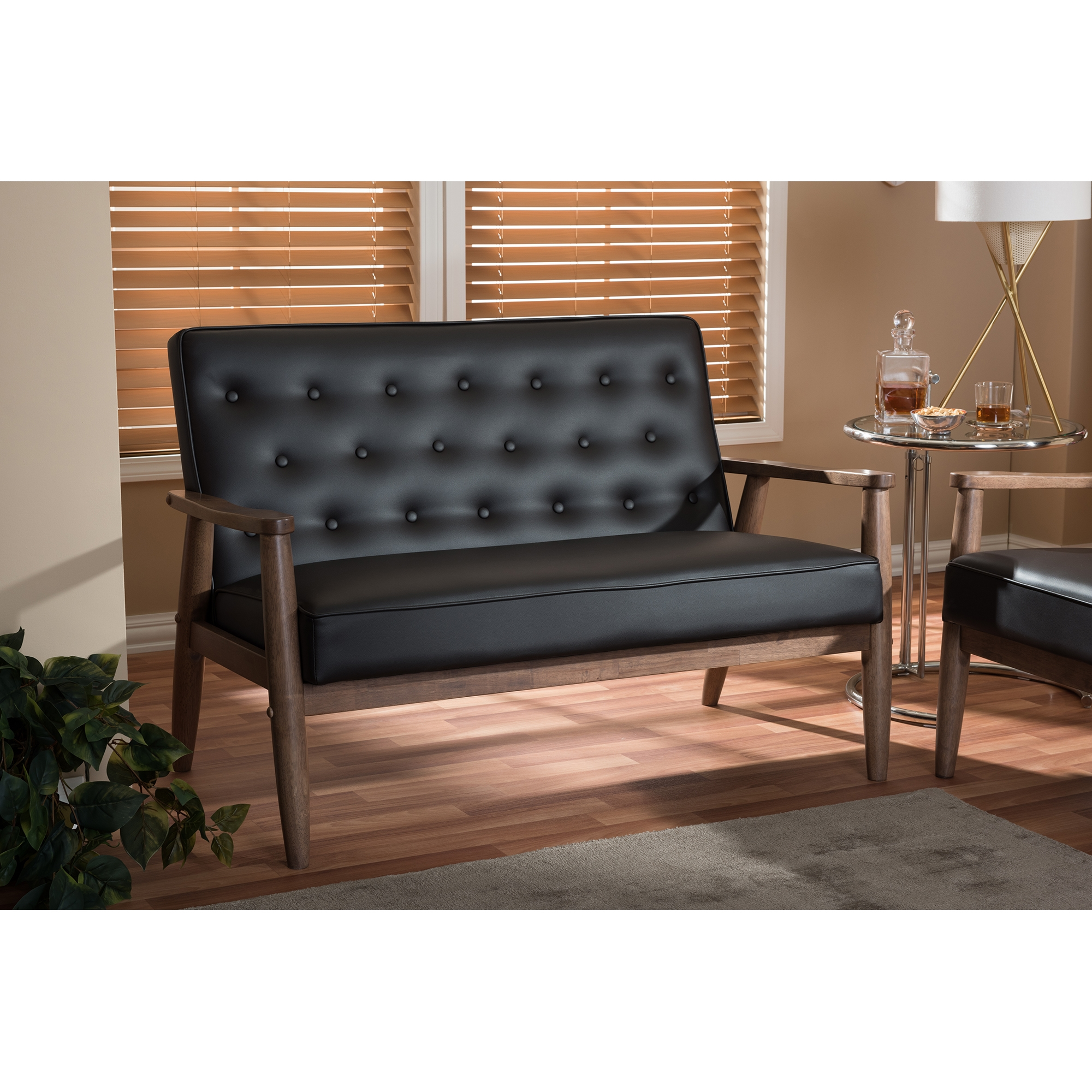 ... Baxton Studio Sorrento Mid Century Retro Modern Brown Faux Leather  Upholstered Wooden 2 Seater