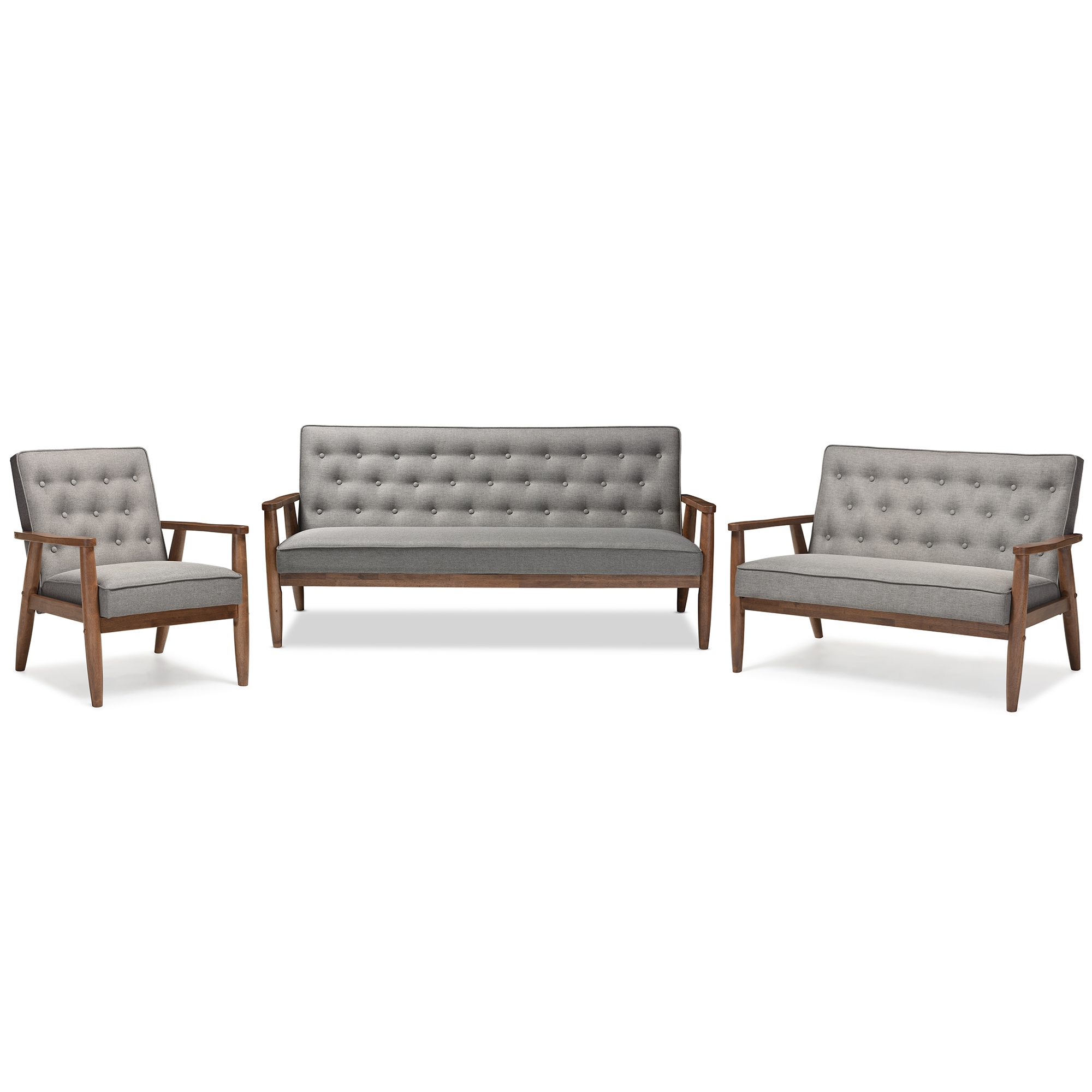 Baxton Studio Sorrento Mid Century Retro Modern Grey Fabric Upholstered  Wooden 3 Piece Living Room Set