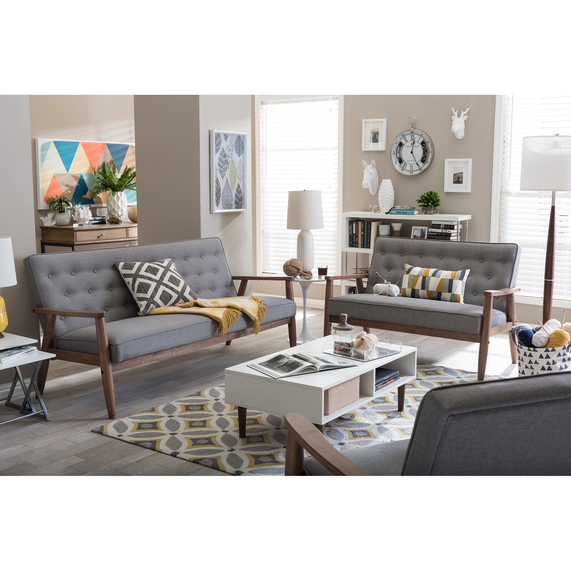 ... Baxton Studio Sorrento Mid Century Retro Modern Grey Fabric Upholstered  Wooden 3 Piece Living Room