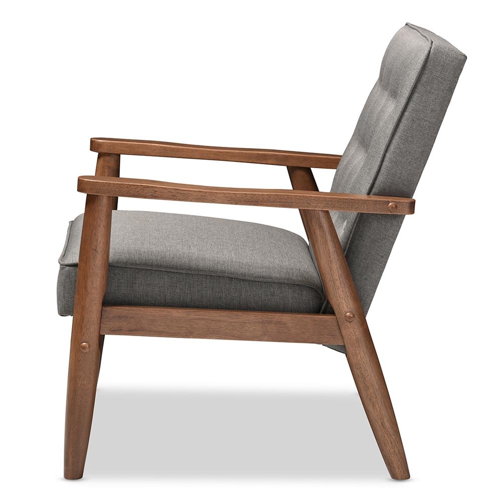 ... Baxton Studio Sorrento Mid-century Retro Modern Grey Fabric Upholstered  Wooden Lounge Chair - BSOBBT8013 ...