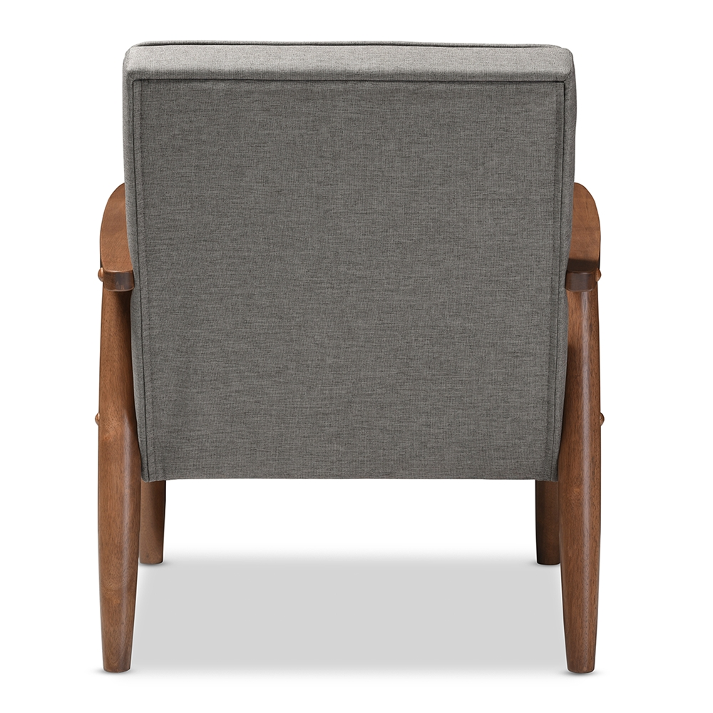Baxton studio sorrento mid century retro modern grey for Mid century modern upholstered chair