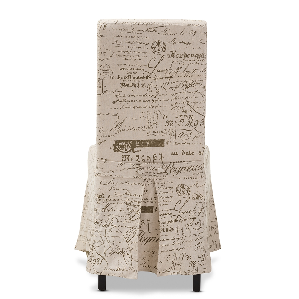Baxton Studio Picard French Script Beige Linen Modern Dining Chair Bsodo6062b Patterned Fabric