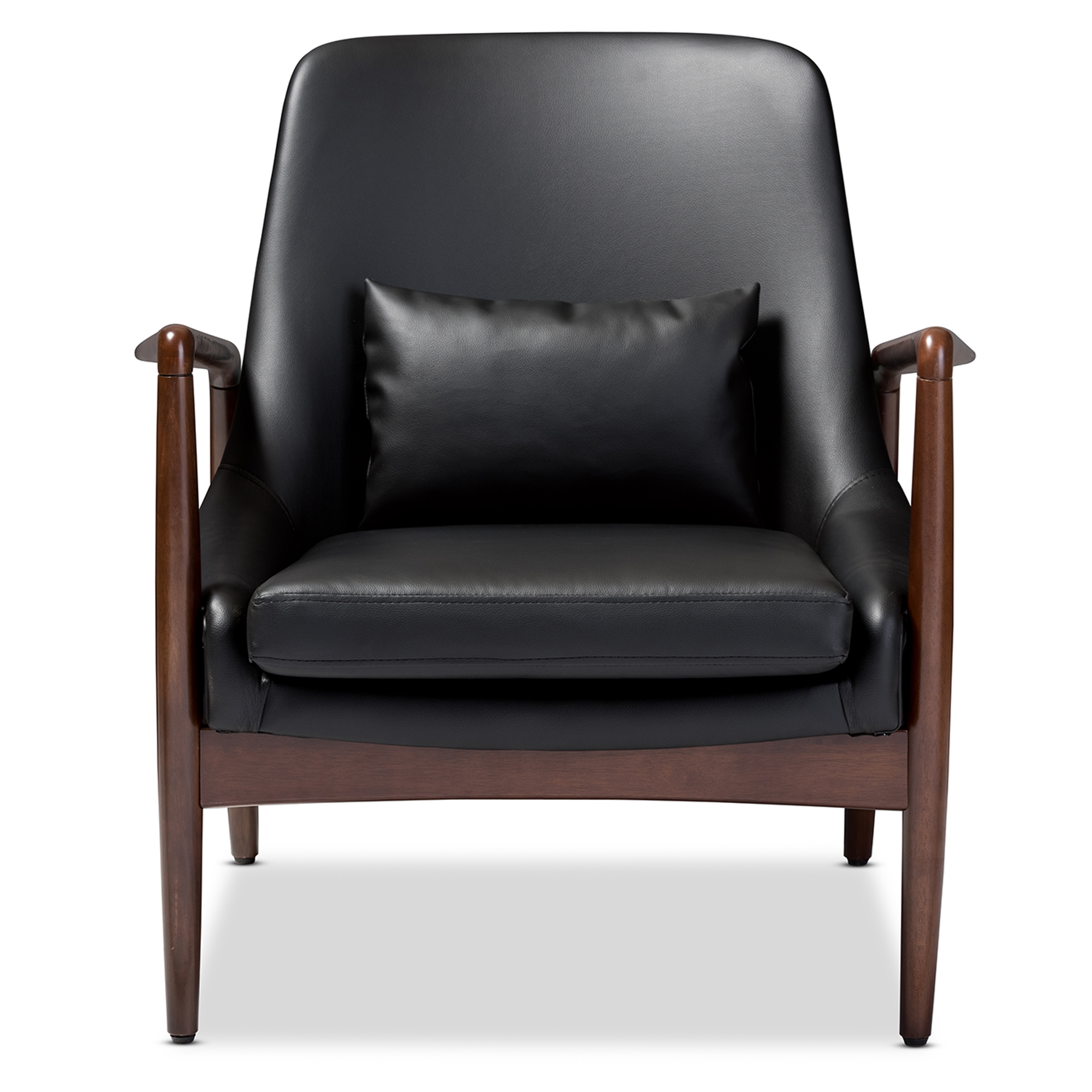 baxton studio carter midcentury modern retro black faux leather upholstered leisure accent chair in walnut wood frame