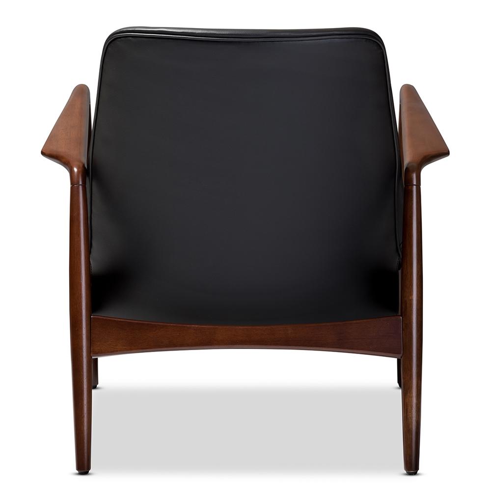 Baxton Studio Carter Mid-Century Modern Retro Black Faux Leather ...