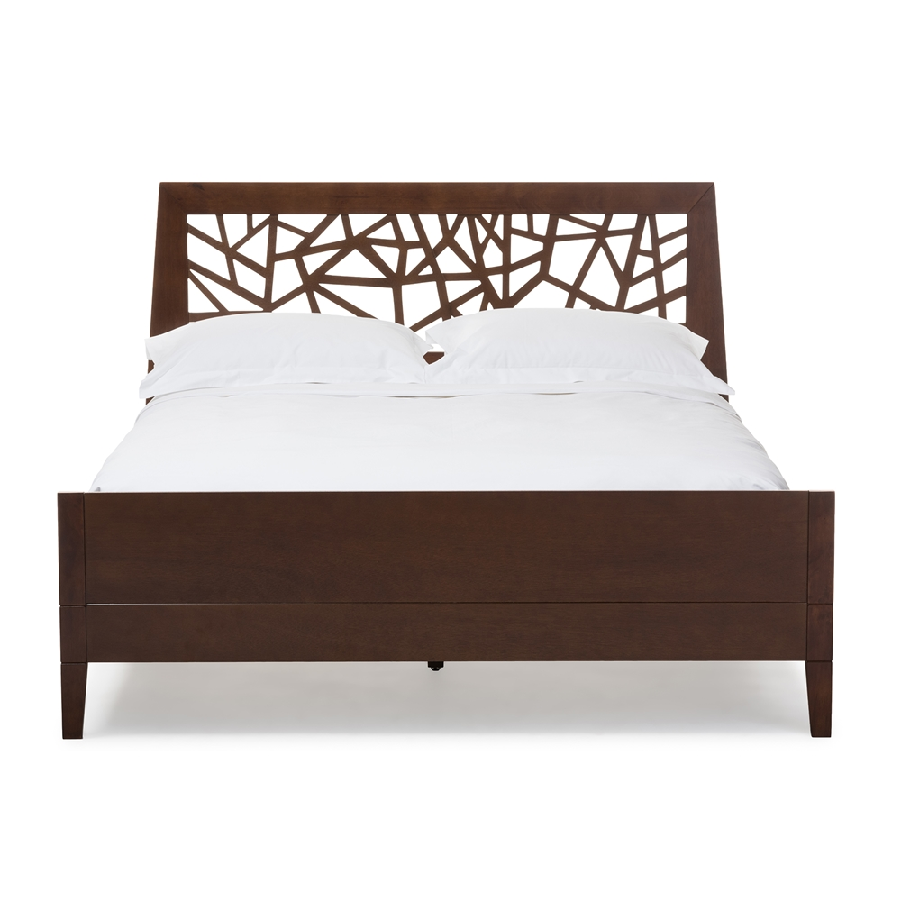 baxton studio jennifer tree branch inspired modern and contemporary king size walnut finishing solid wood platform - Solid Wood Platform Bed Frame King