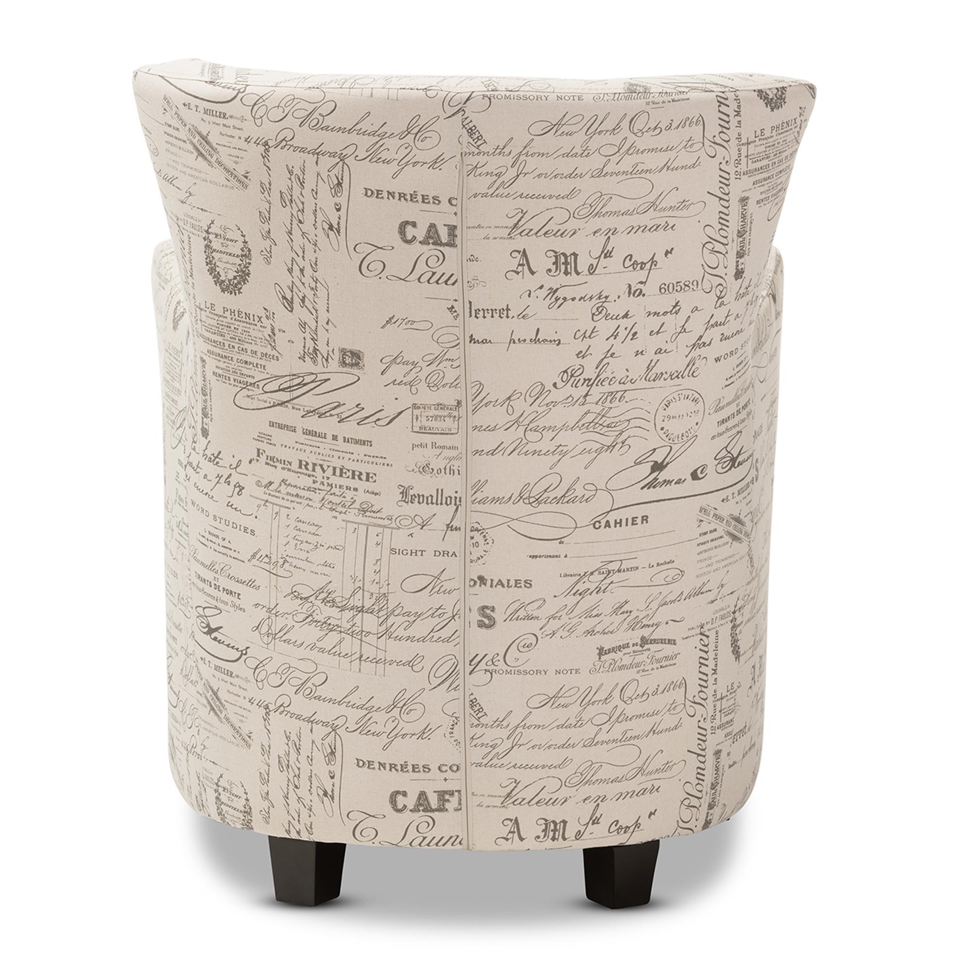 Baxton Studio Benson French Script Patterned Fabric Club