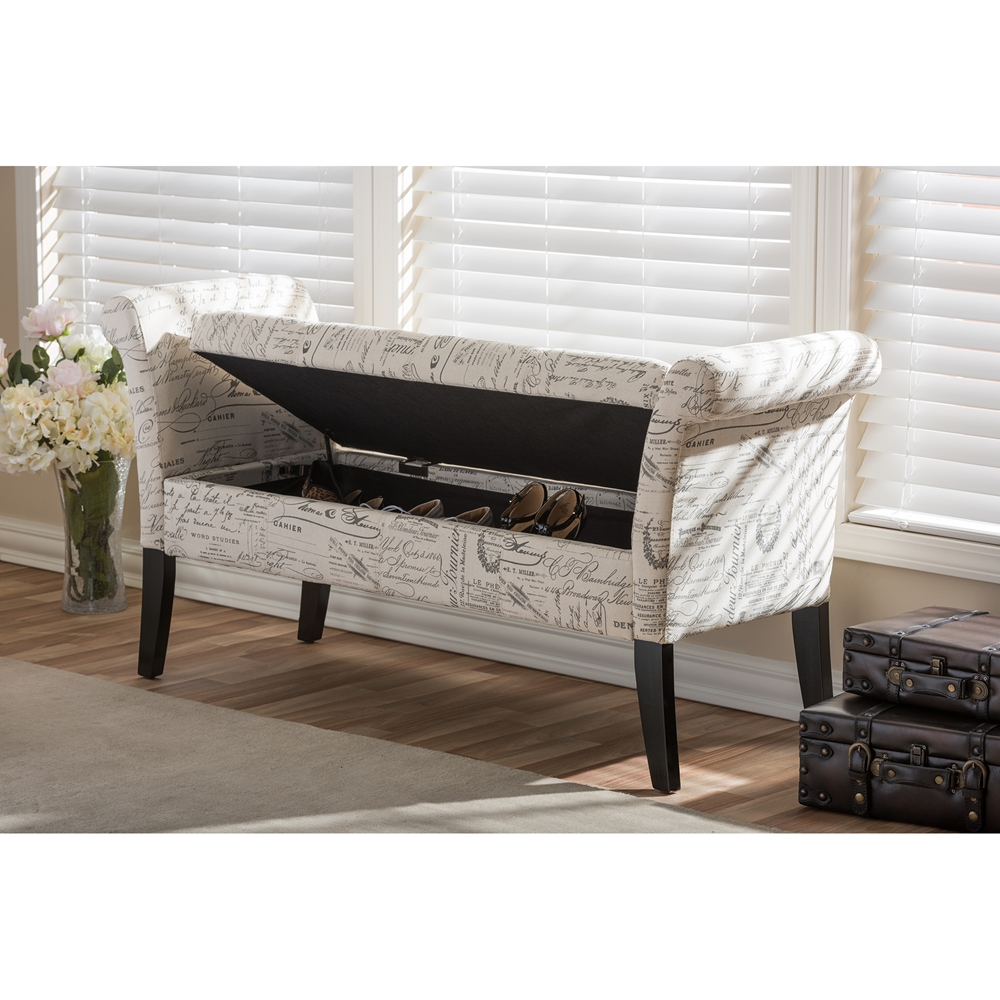 ... Baxton Studio Avignon Script-Patterned French Laundry Fabric Storage  Ottoman Bench - BSOWS-0819 - Baxton Studio Avignon Script-Patterned French Laundry Fabric