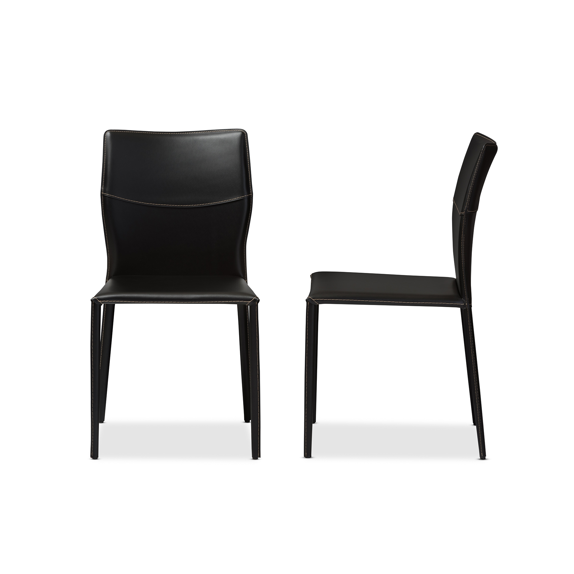 baxton studio asper modern and black leather upholstered dining chair affordable modern furniture in chicago