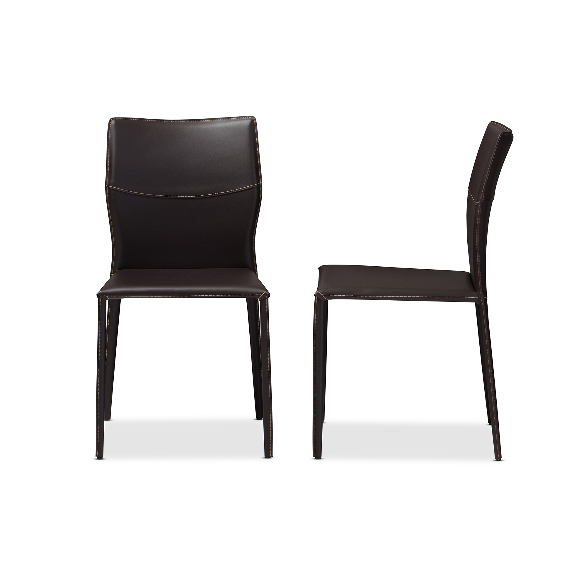 baxton studio asper modern and dark brown bonded leather upholstered dining chair affordable modern furniture - Leather Dining Room Chairs