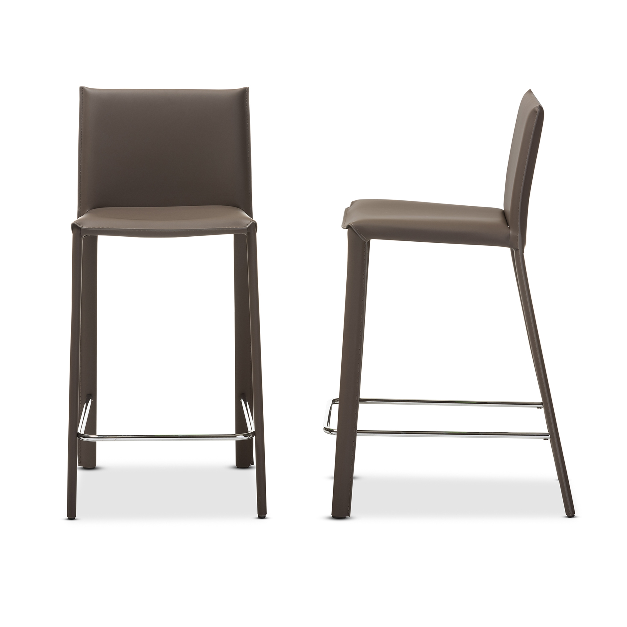 Upholstered Bar Height Chairs Part - 25: Baxton Studio Crawford Modern And Contemporary Taupe Leather Upholstered  Counter Height Stool Affordable Modern Furniture In