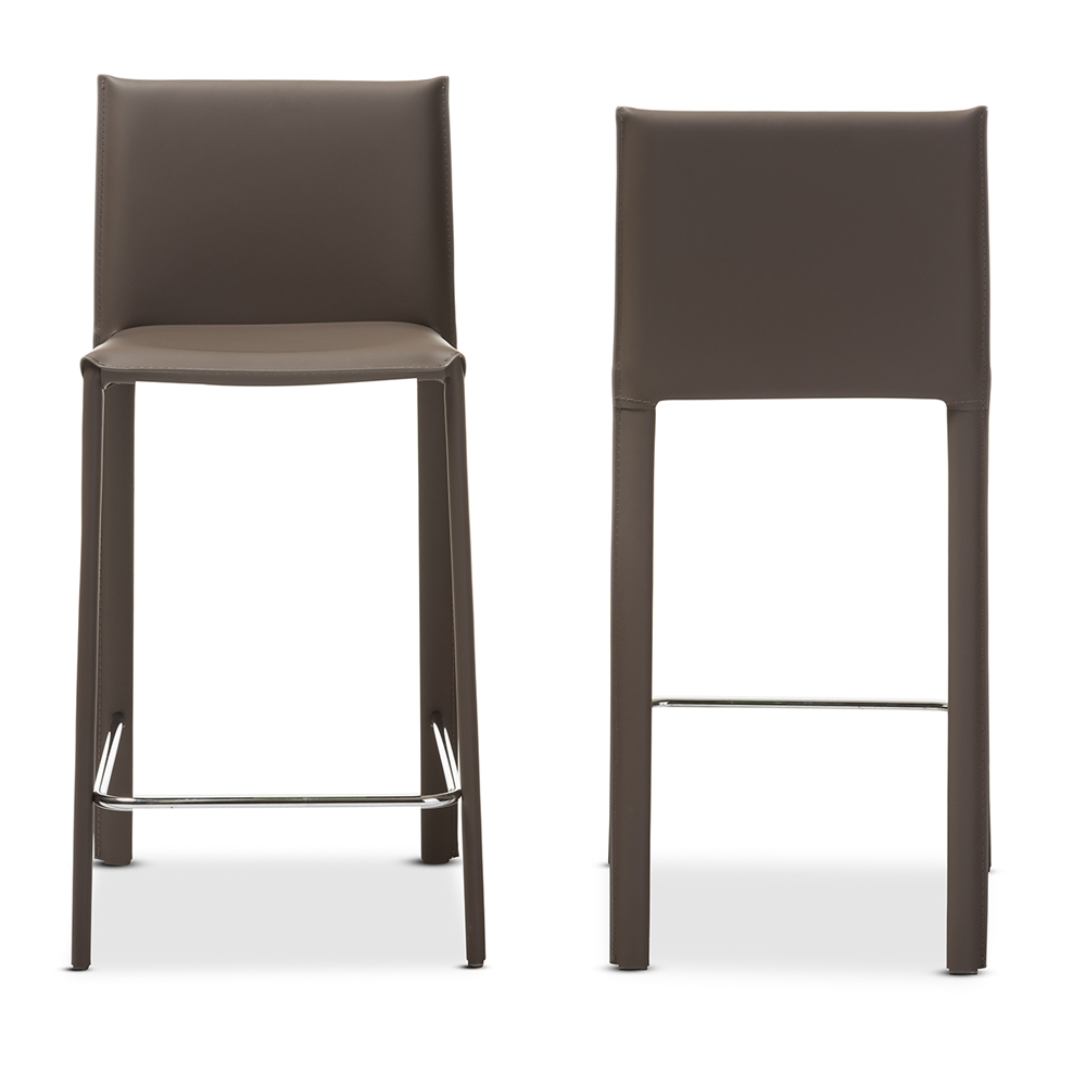 Baxton Studio Crawford Modern And Contemporary Taupe Leather Upholstered Counter Height Stool Bsoalc 1822a