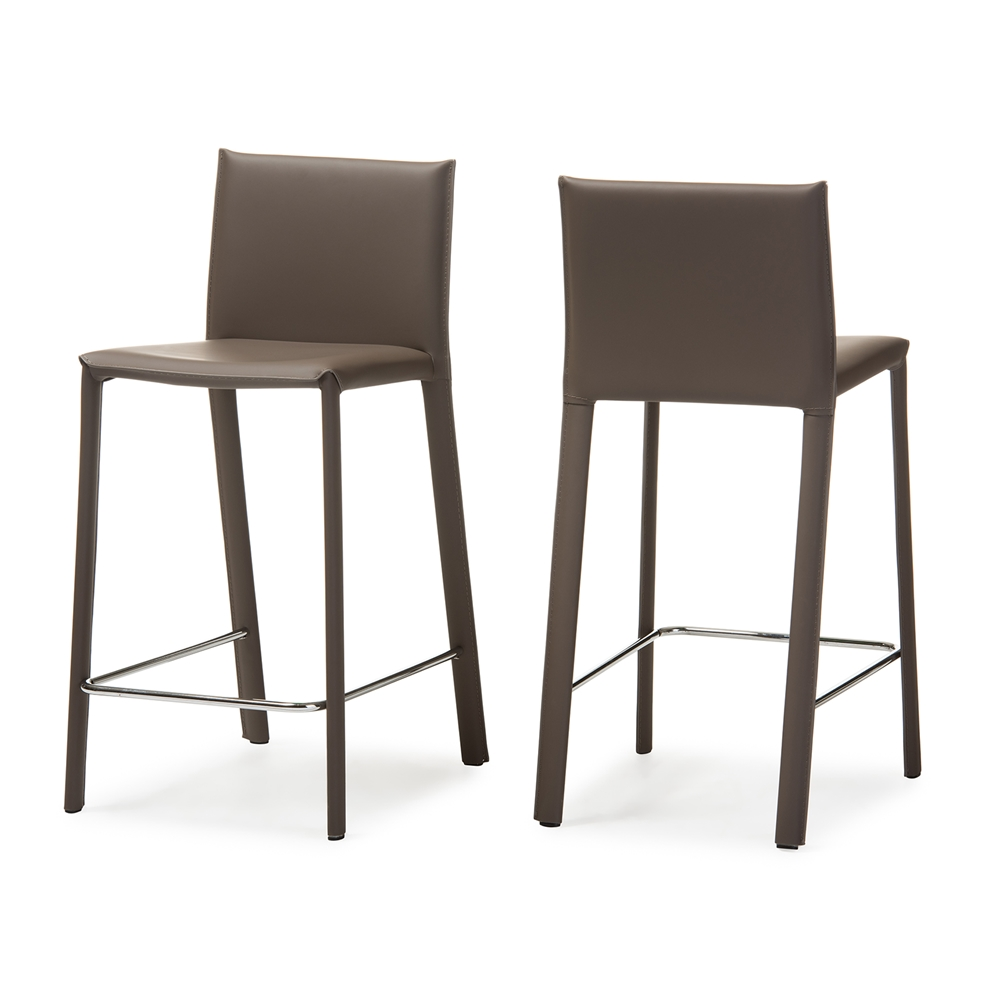 Baxton studio crawford modern and contemporary taupe for Counter height bar stools