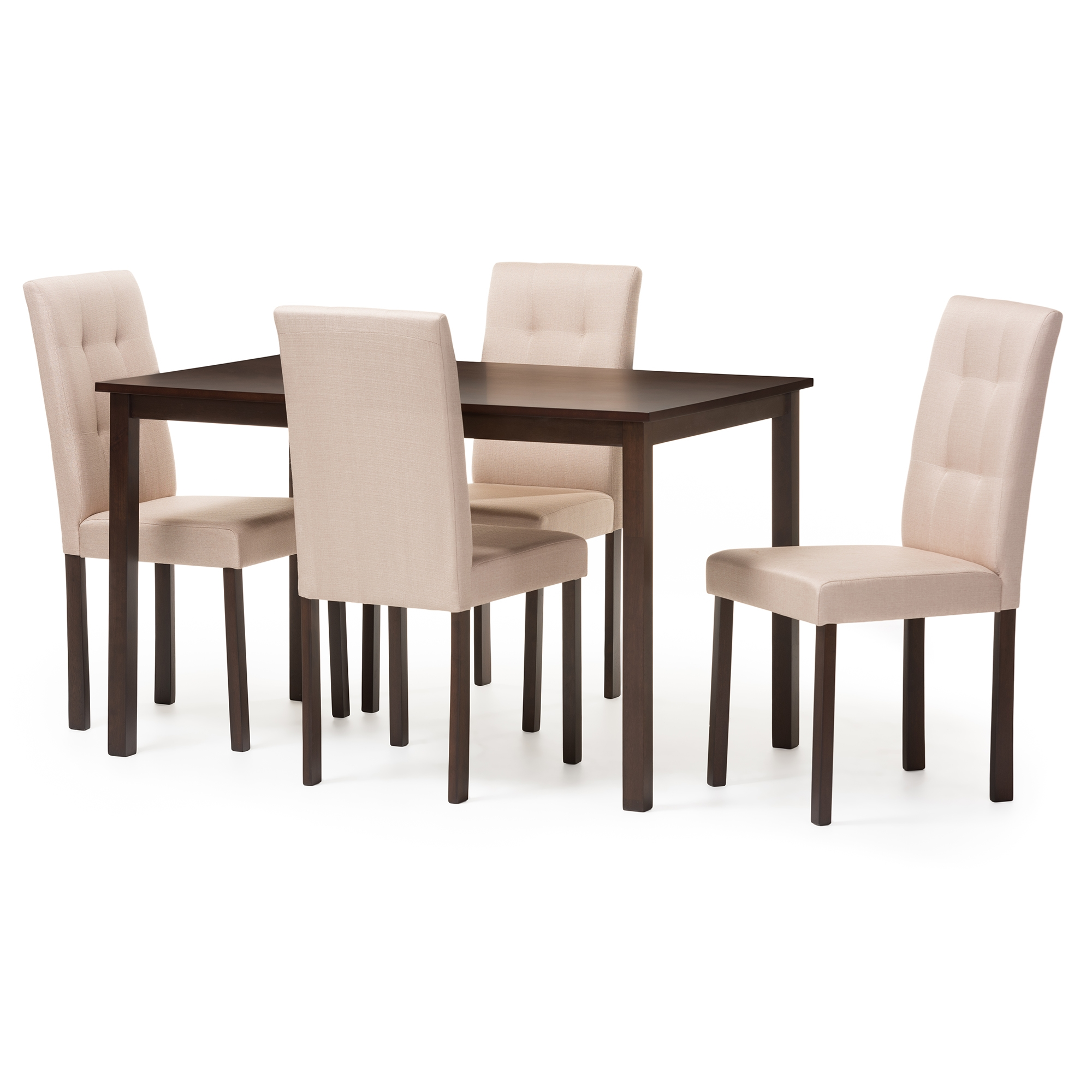 Superieur Baxton Studio Andrew Modern And Contemporary 5 Piece Beige Fabric  Upholstered Grid Tufting Dining Set