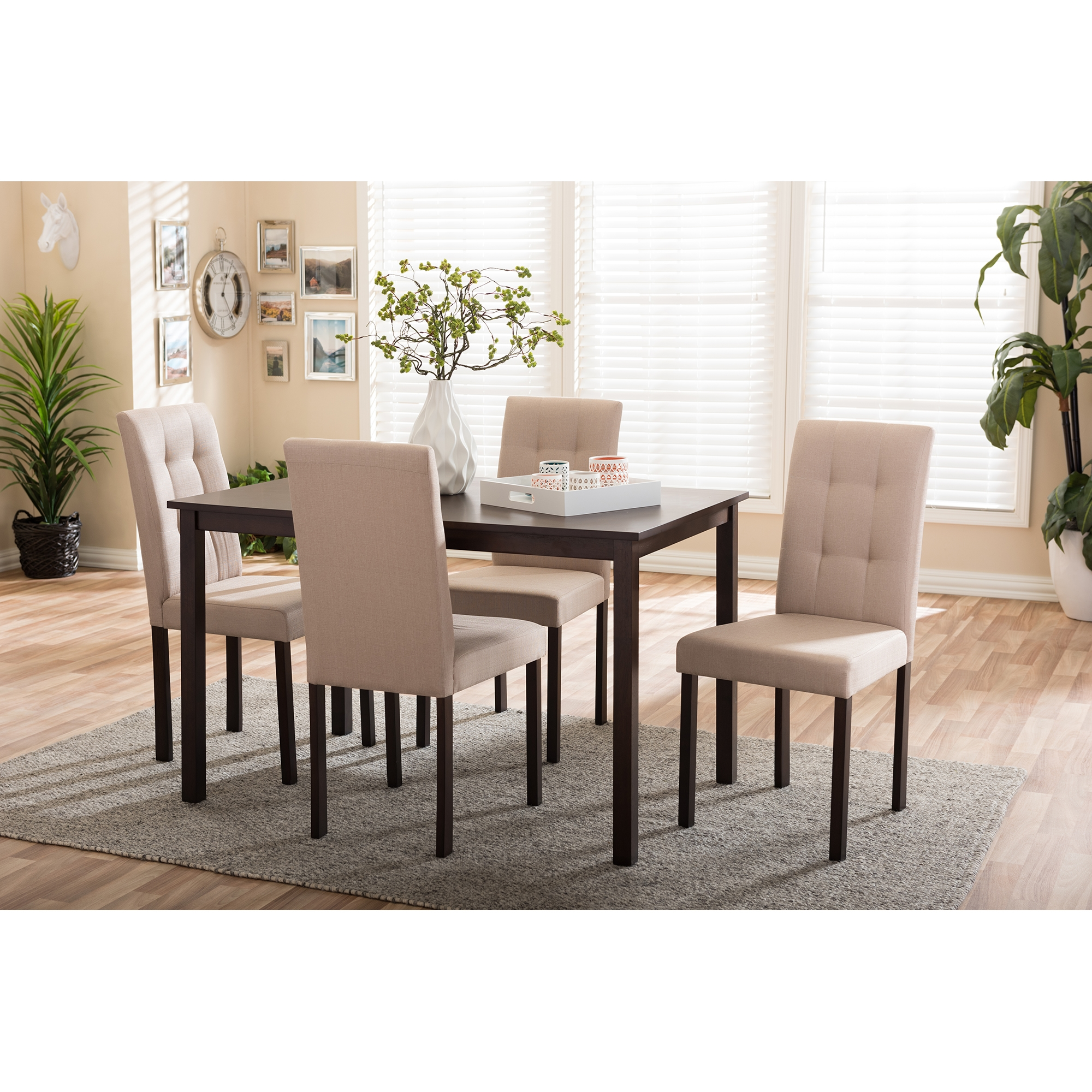 ... Baxton Studio Andrew Modern And Contemporary 5 Piece Beige Fabric  Upholstered Grid Tufting Dining