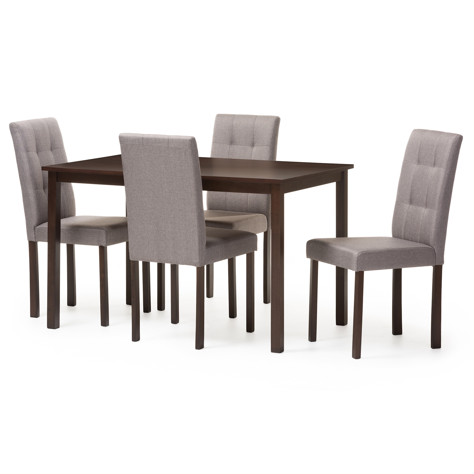 Baxton Studio Andrew Modern And Contemporary 5 Piece Grey Fabric  Upholstered Grid Tufting Dining Set