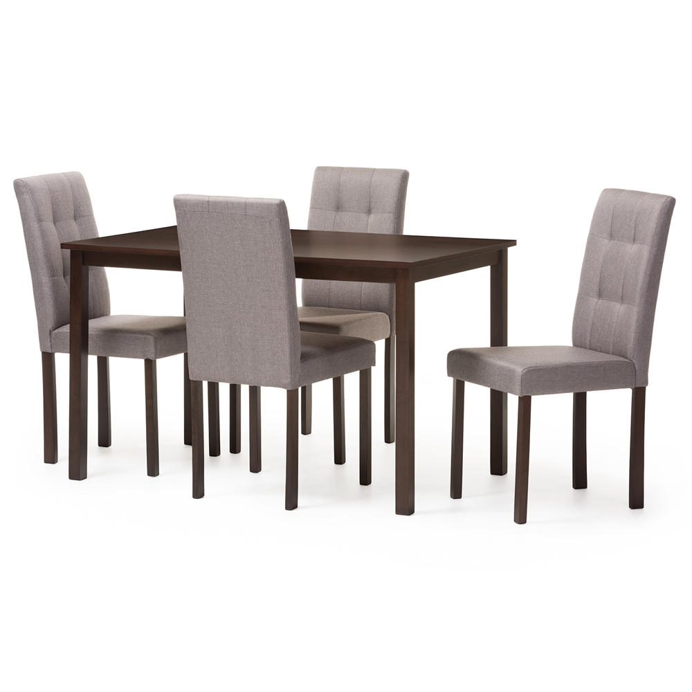 Five Piece Dining Room Sets Baxton Studio Andrew Modern And Contemporary 5 Piece Grey Fabric