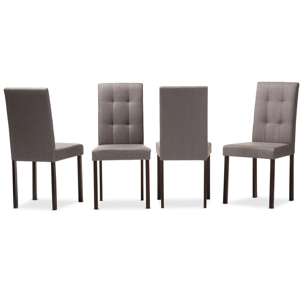Contemporary fabric chairs - Baxton Studio Andrew Modern And Contemporary Grey Fabric Upholstered Grid Tufting Dining Chair