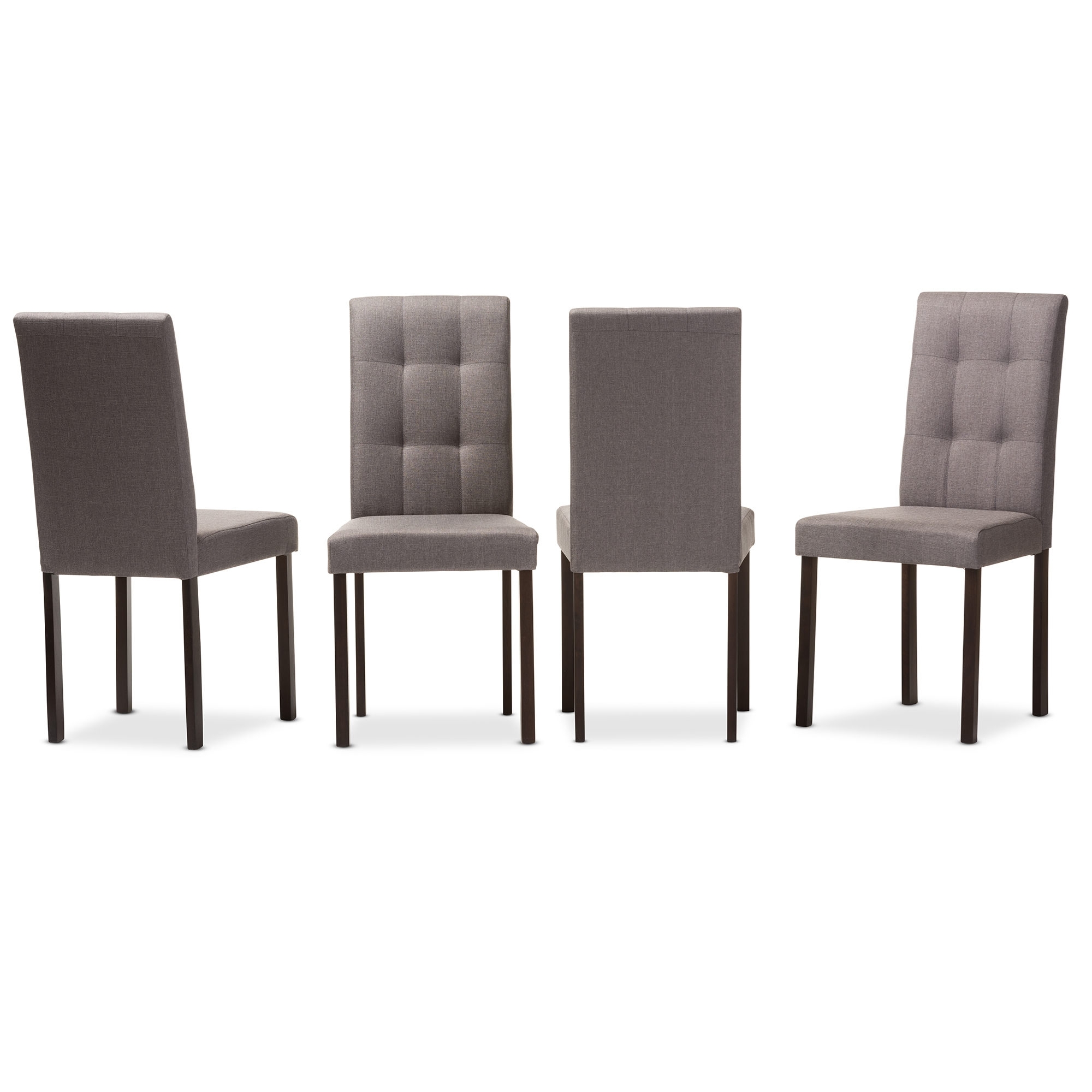 Baxton Studio Andrew Modern And Contemporary Grey Fabric Upholstered  Grid Tufting Dining Chair