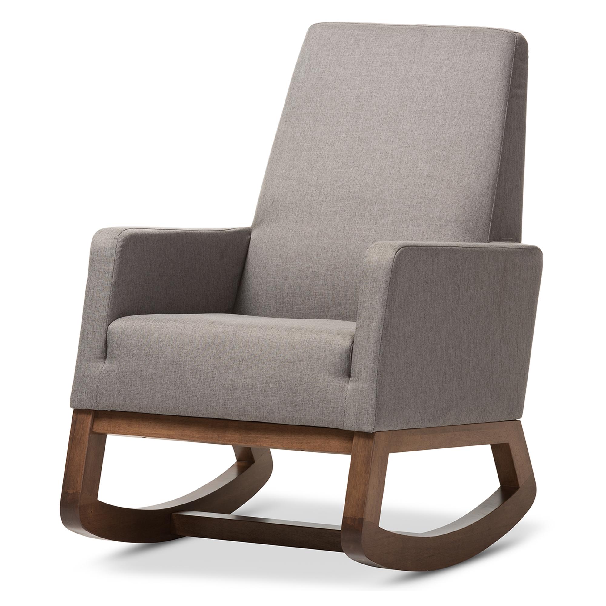 ... Baxton Studio Yashiya Mid Century Retro Modern Grey Fabric Upholstered  Rocking Chair   BSOBBT5199  ...