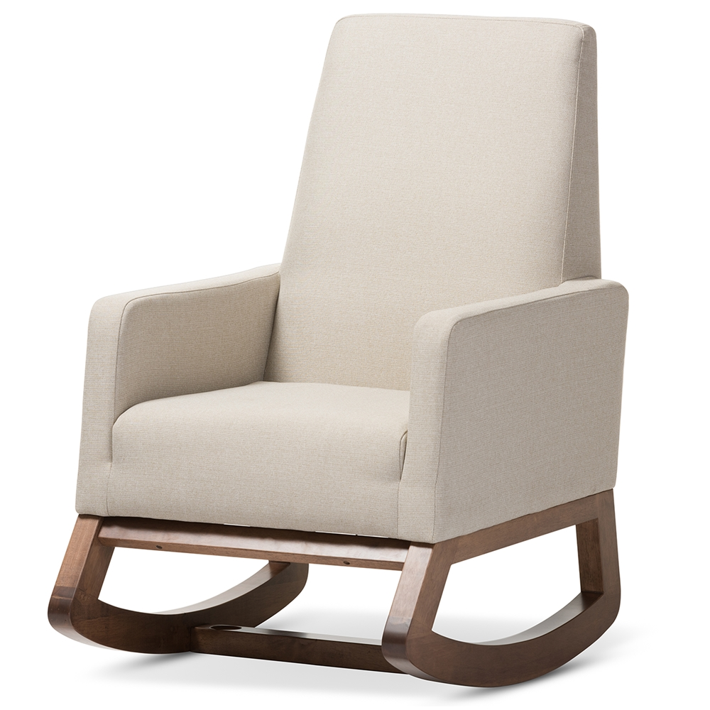 Baxton Studio Yashiya Mid Century Retro Modern Light Beige Fabric Upholstered Rocking Chair Bsobbt5199