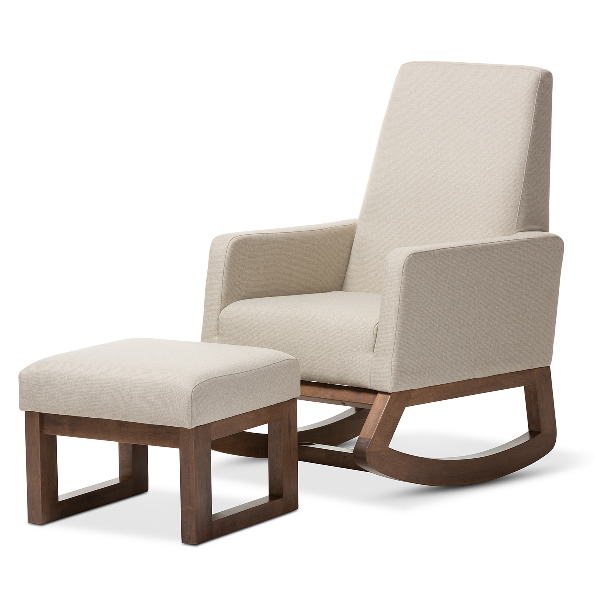 Baxton Studio Yashiya Mid Century Retro Modern Light Beige Fabric  Upholstered Rocking Chair And Ottoman Set
