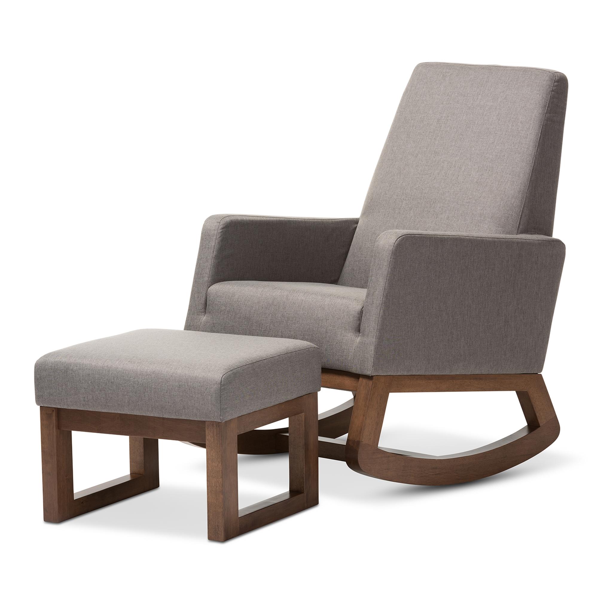 Beau Baxton Studio Yashiya Mid Century Retro Modern Grey Fabric Upholstered  Rocking Chair And Ottoman Set