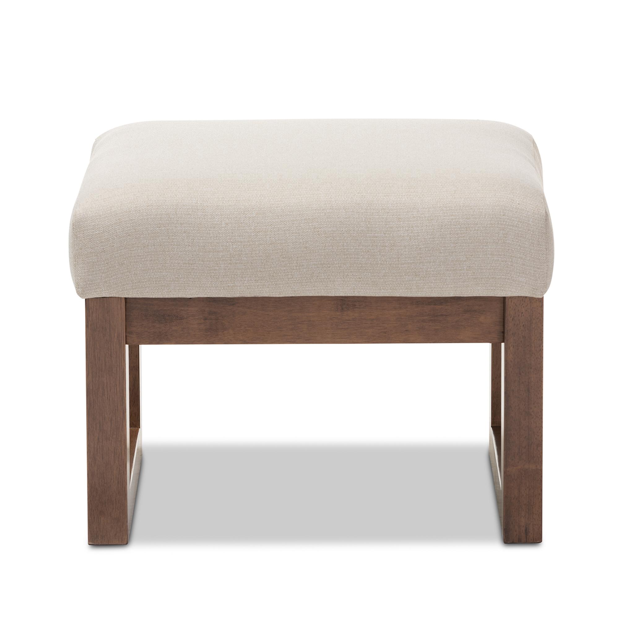 Baxton Studio Yashiya Mid Century Retro Modern Light Beige Fabric  Upholstered Ottoman Stool Affordable Modern