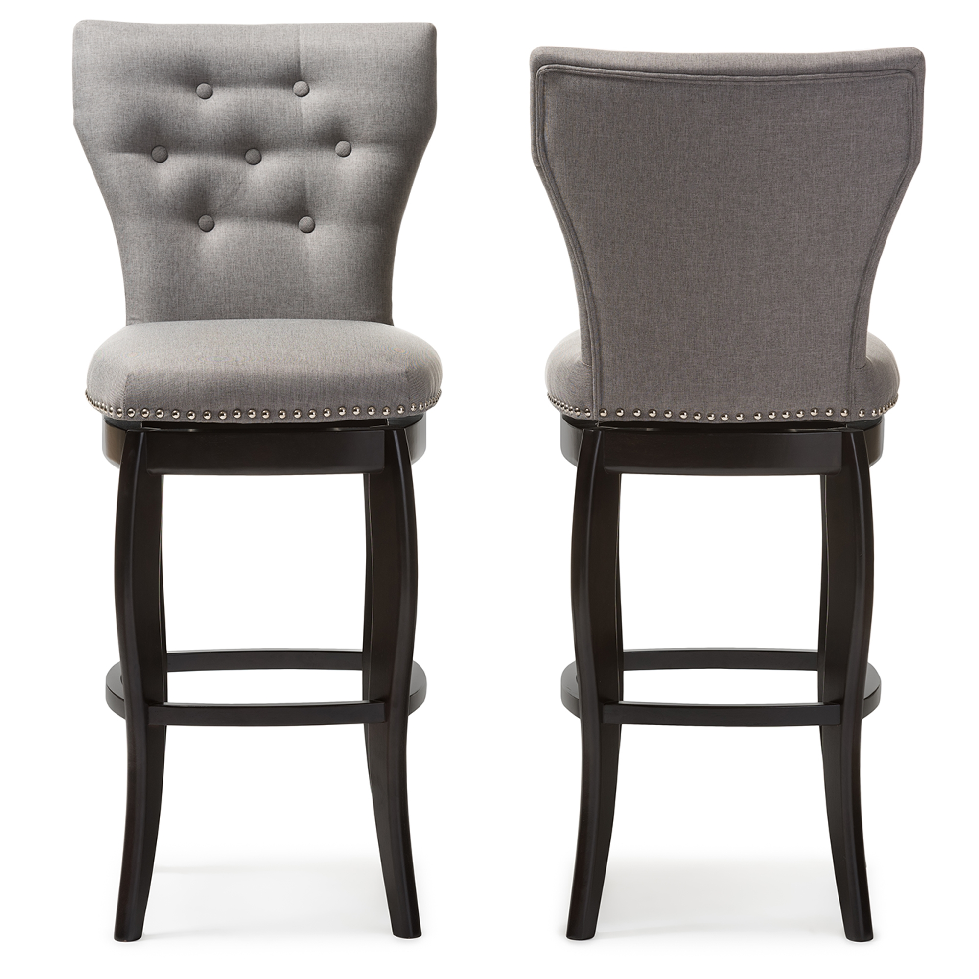 Modern Leather Bar Stools Part - 34: Baxton Studio Leonice Modern And Contemporary Grey Fabric Upholstered  Button-tufted 29-Inch Swivel Bar Stool