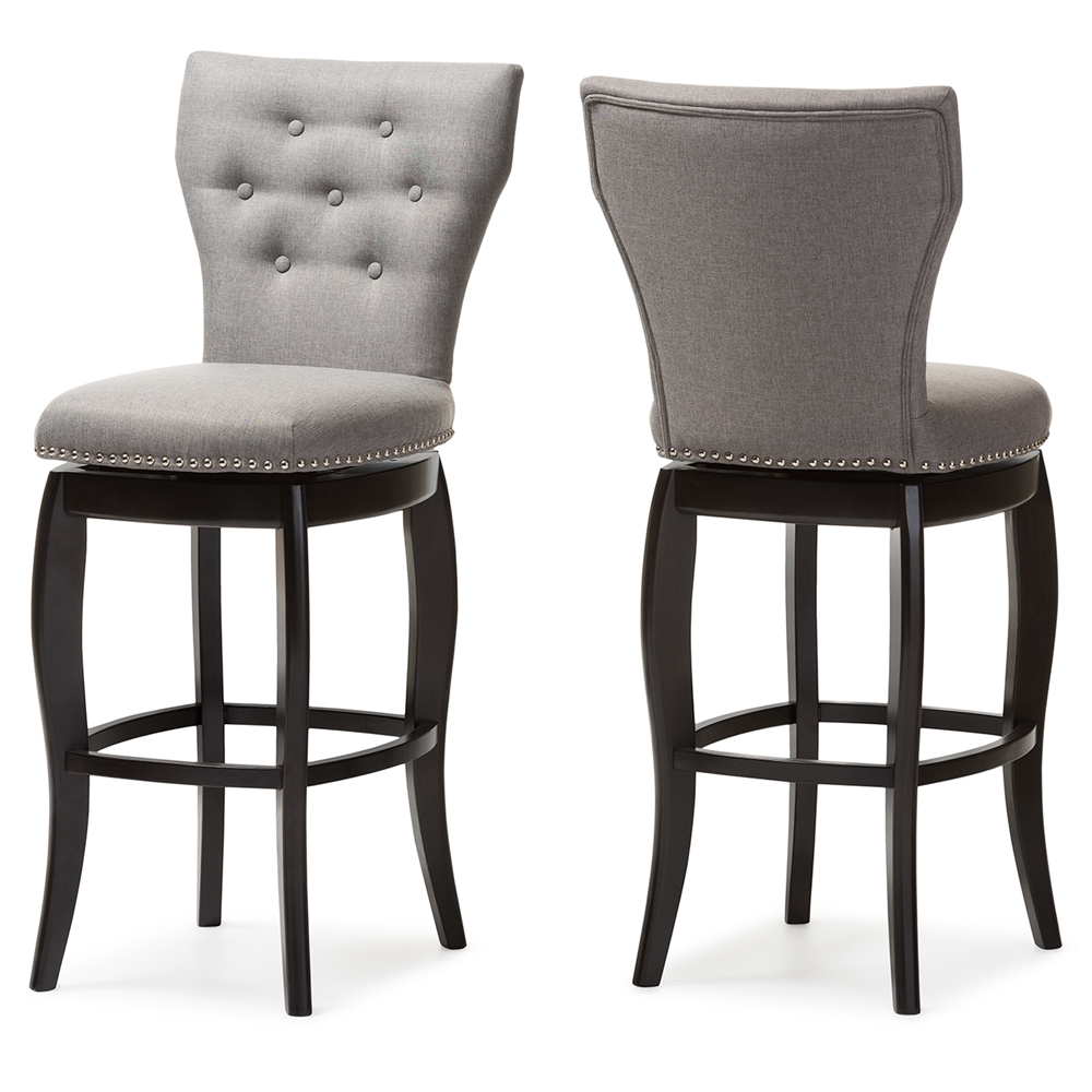 Baxton Studio Leonice Modern and Contemporary Grey Fabric Upholstered Button tufted Inch Swivel