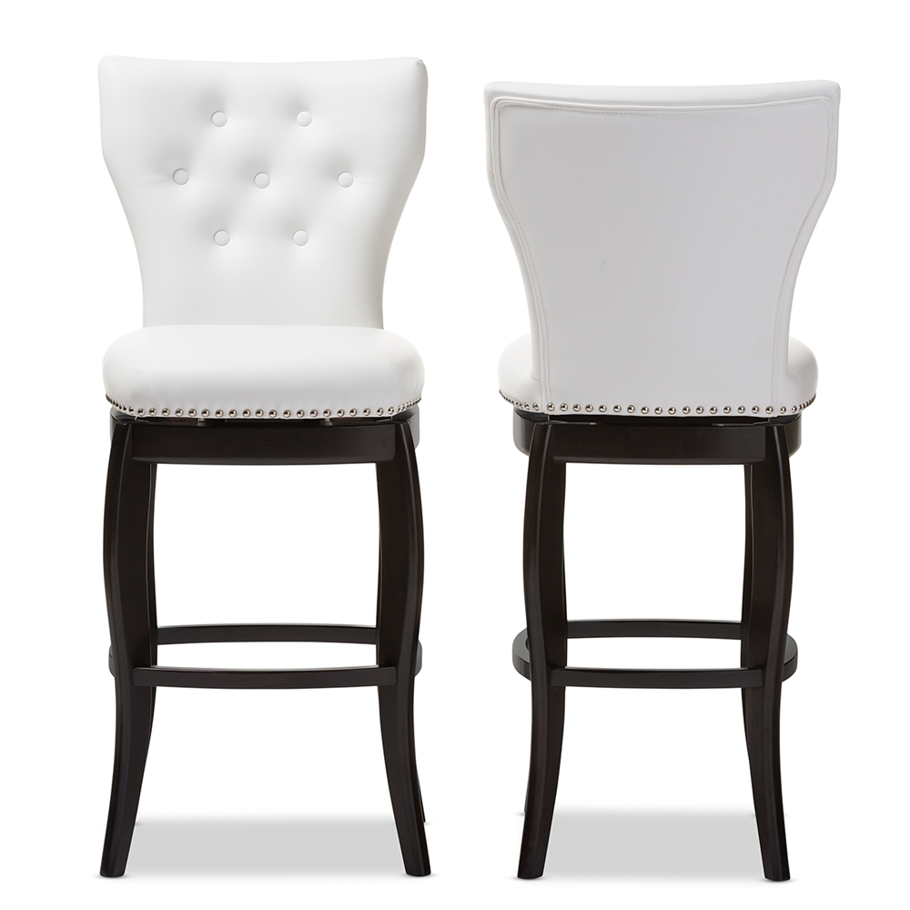 Bar chairs contemporary - Baxton Studio Leonice Modern And Contemporary White Faux Leather Upholstered Button Tufted 29 Inch