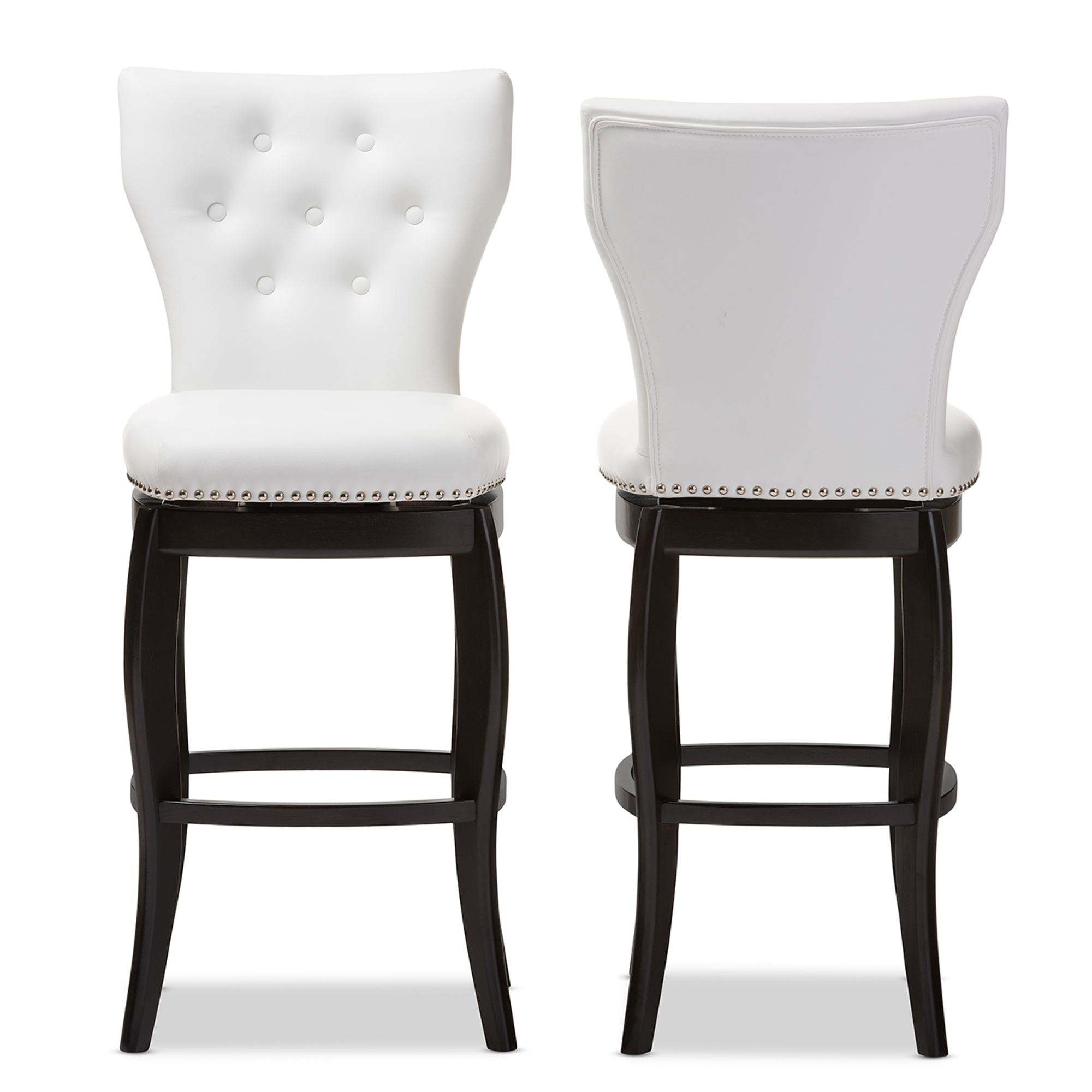 Baxton Studio Leonice Modern And Contemporary White Faux Leather  Upholstered Button Tufted 29 Inch Swivel Bar Stool