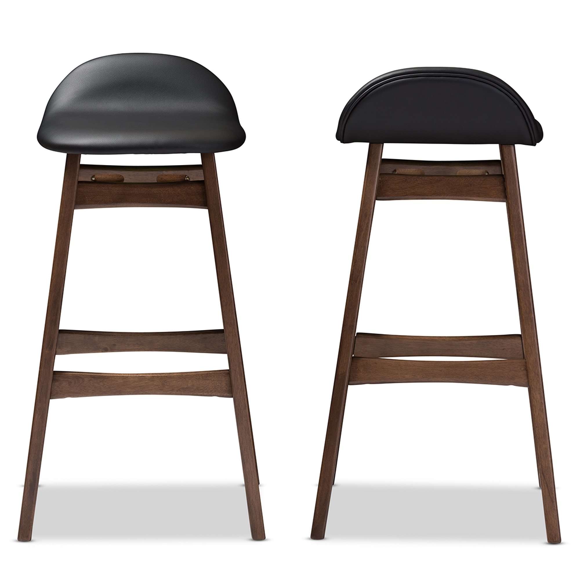 Baxton Studio Bloom Mid-century Retro Modern Scandinavian Style Black Faux Leather Upholstered Walnut Wood Finishing 30-Inches Bar Stool  sc 1 st  Baxton Studio Outlet & Baxton Studio Bloom Mid-century Retro Modern Scandinavian Style ... islam-shia.org