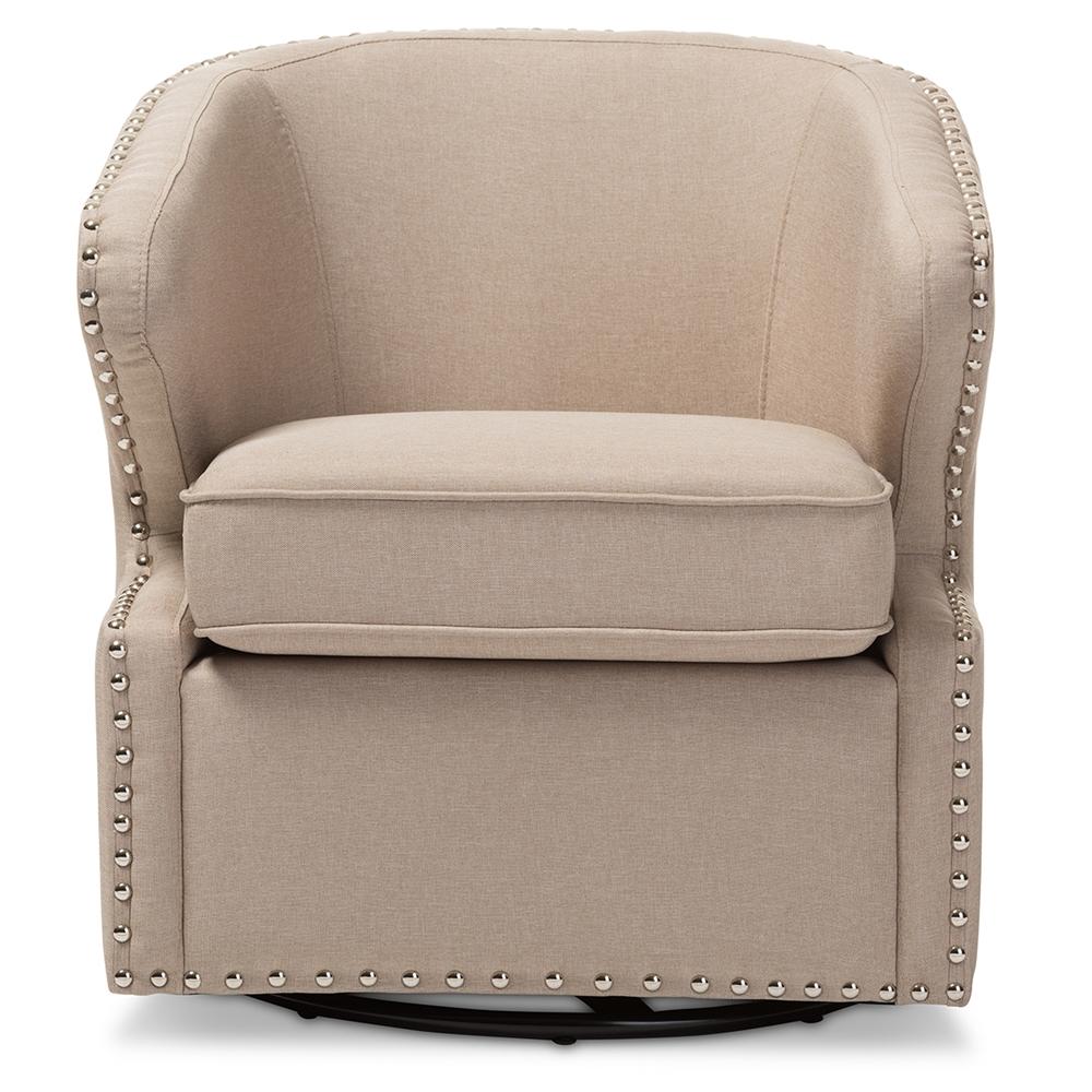 Modern swivel armchair - Baxton Studio Finley Mid Century Modern Beige Fabric Upholstered Swivel Armchair