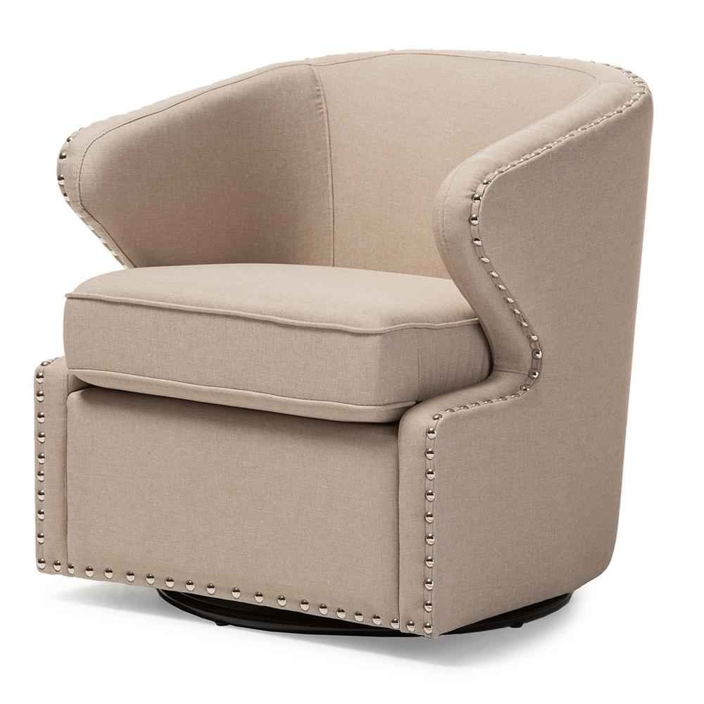 Baxton Studio Finley Mid Century Modern Beige Fabric Upholstered Swivel Armchair