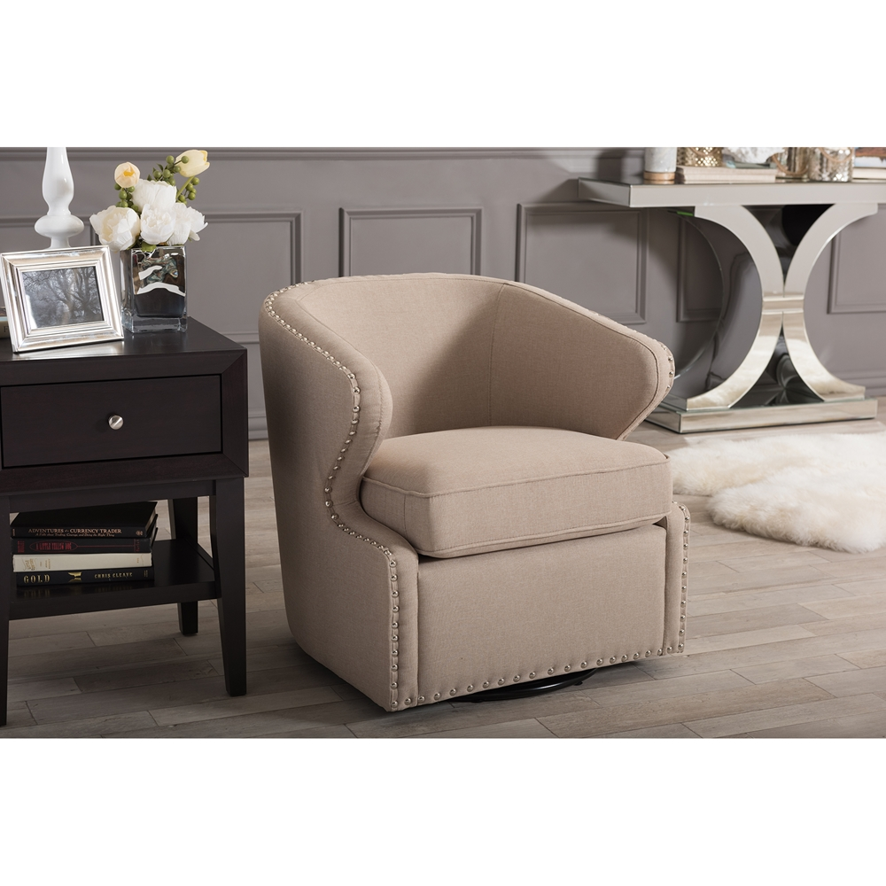 Beige modern armchair -  Baxton Studio Finley Mid Century Modern Beige Fabric Upholstered Swivel Armchair Bsodb 203