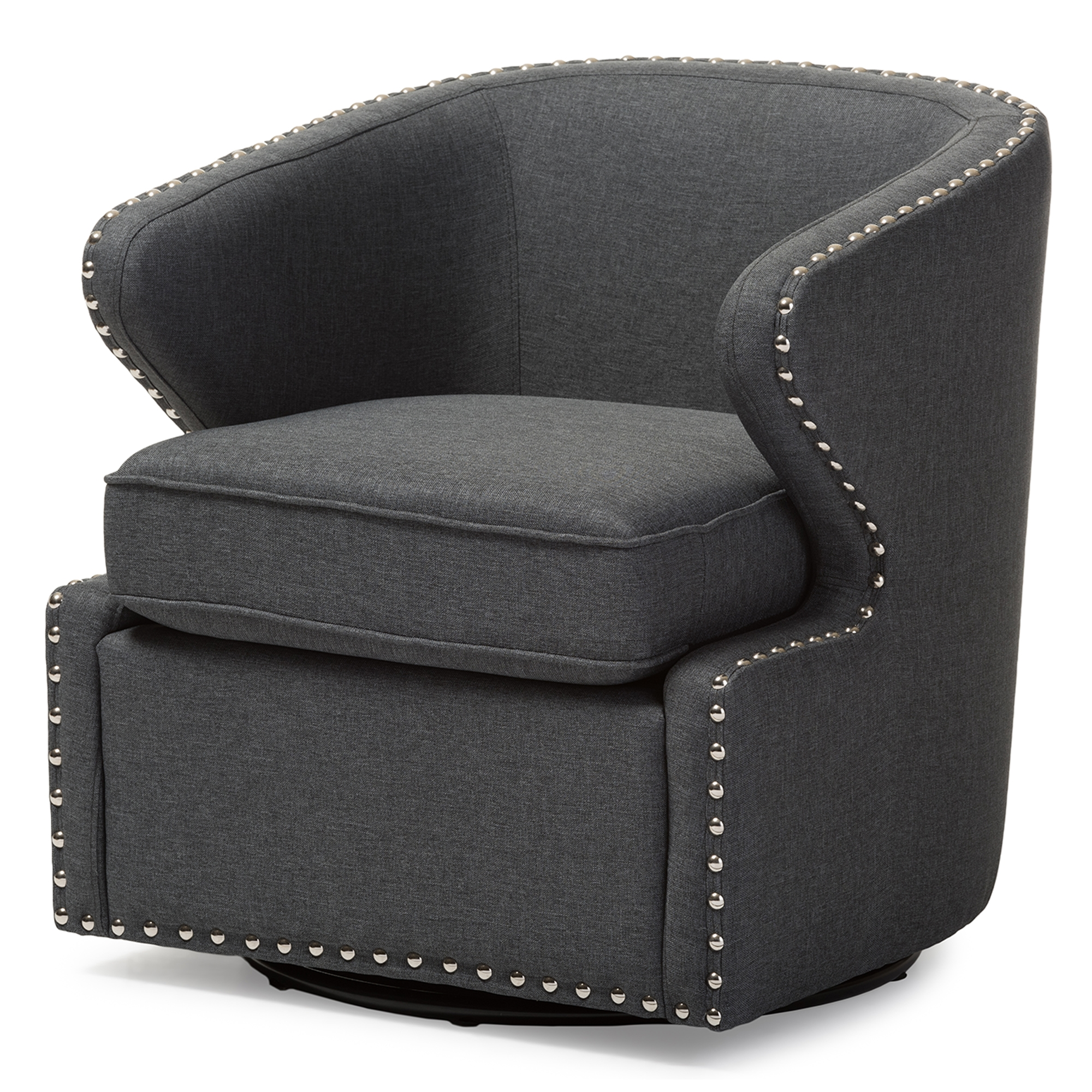 baxton studio finley midcentury modern grey fabric upholstered swivel armchair bsodb203