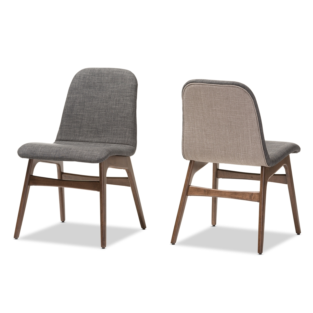 Wooden chairs with armrest -  Baxton Studio Embrace Mid Century Retro Modern Scandinavian Style Dark Grey Fabric Upholstered Walnut Wood