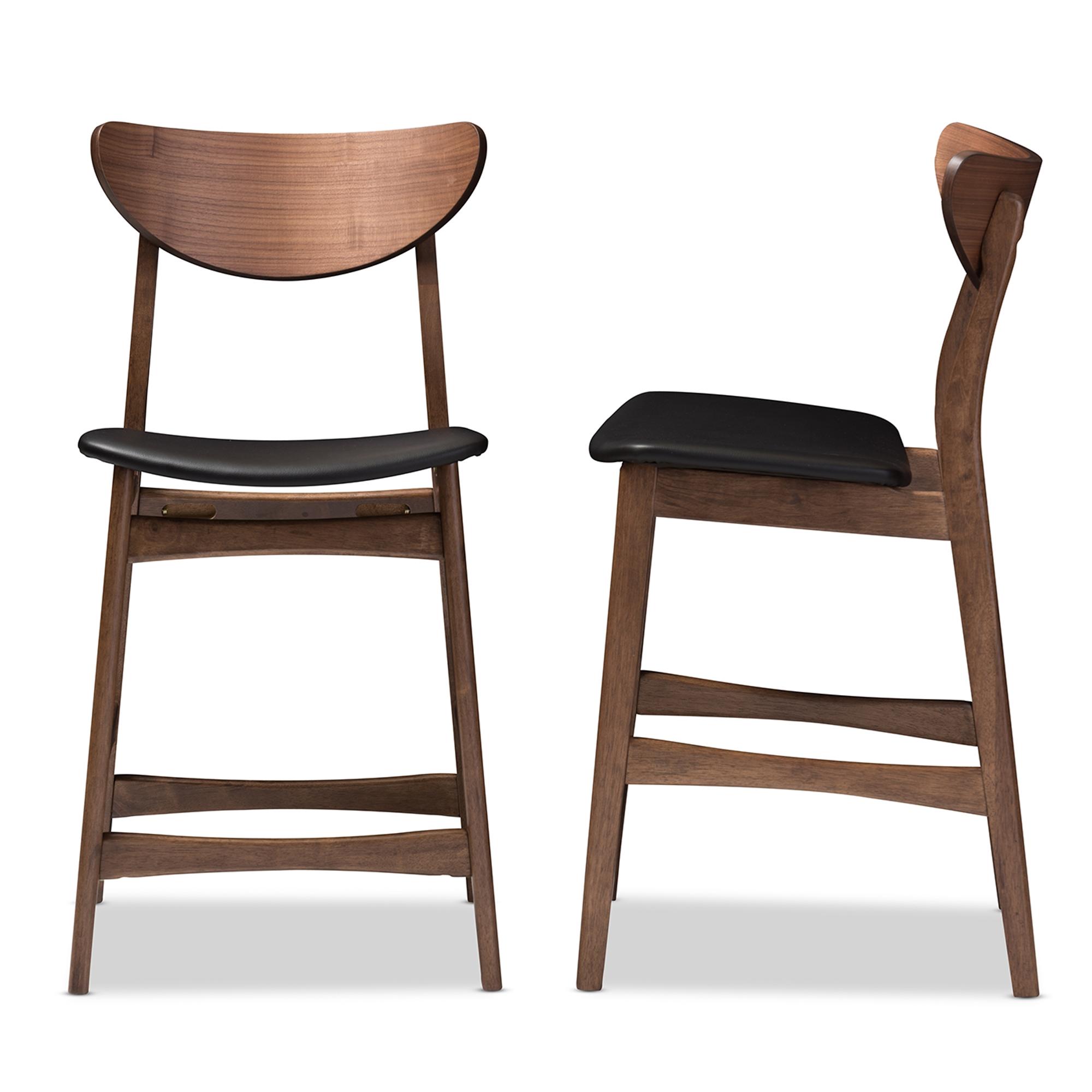 Baxton studio latina mid century retro modern scandinavian style black faux leather upholstered walnut wood