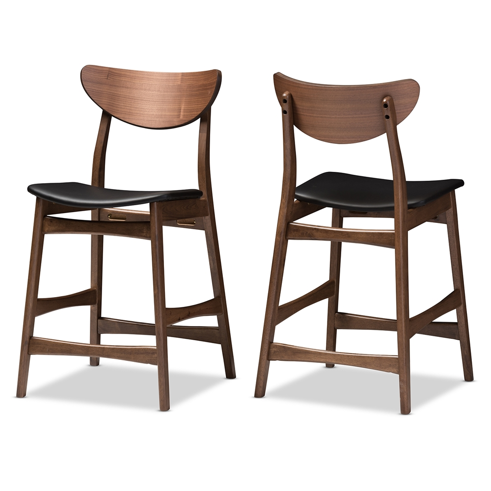 Design Modern Counter Stools baxton studio latina mid century retro modern scandinavian style black faux leather upholstered walnut wood