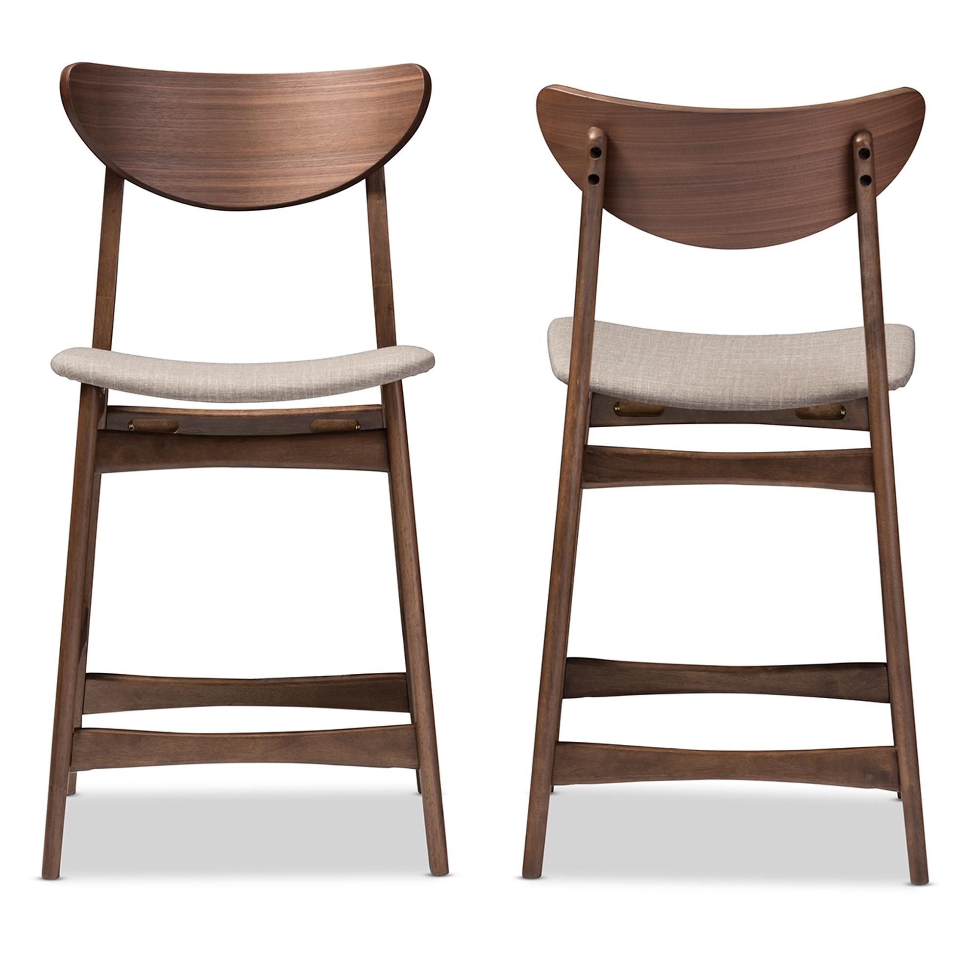 baxton studio latina midcentury retro modern style light grey fabric upholstered walnut wood - Modern Counter Stools